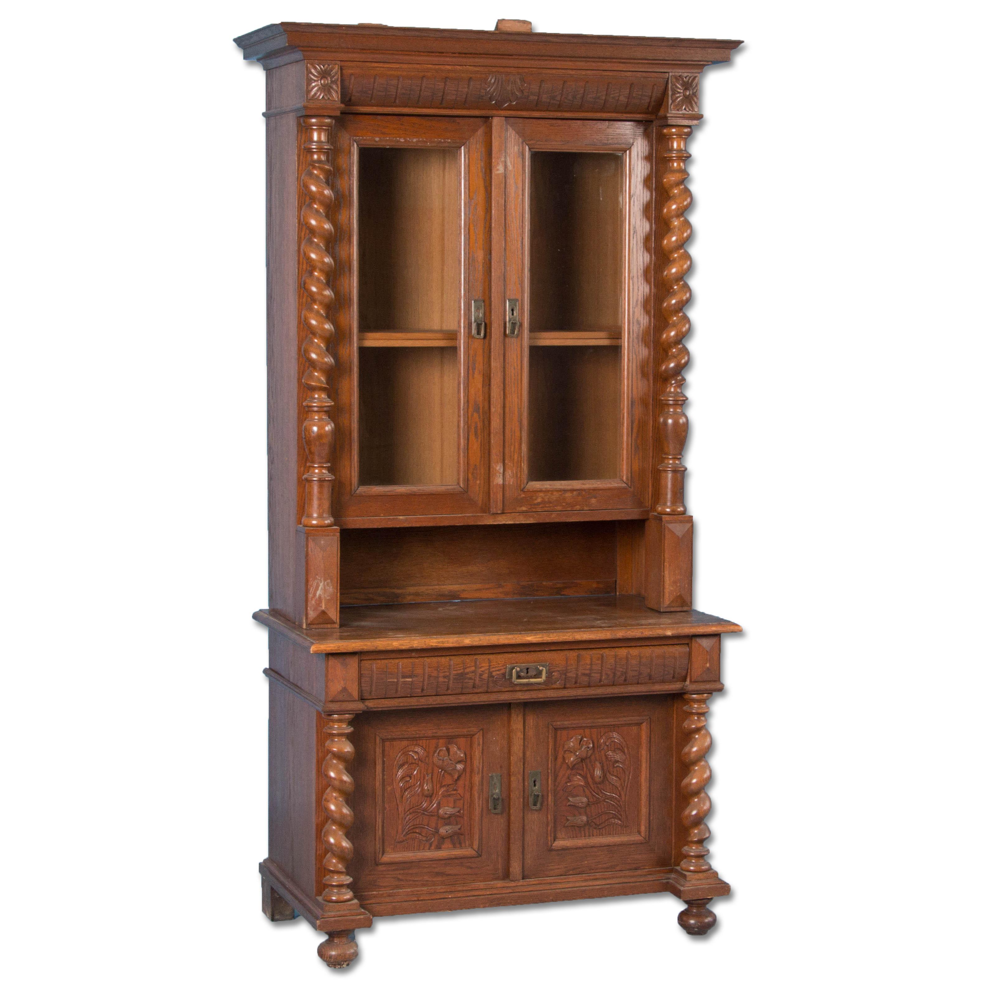 Antique 19th Century Danish Barley Twist Oak Bookcase