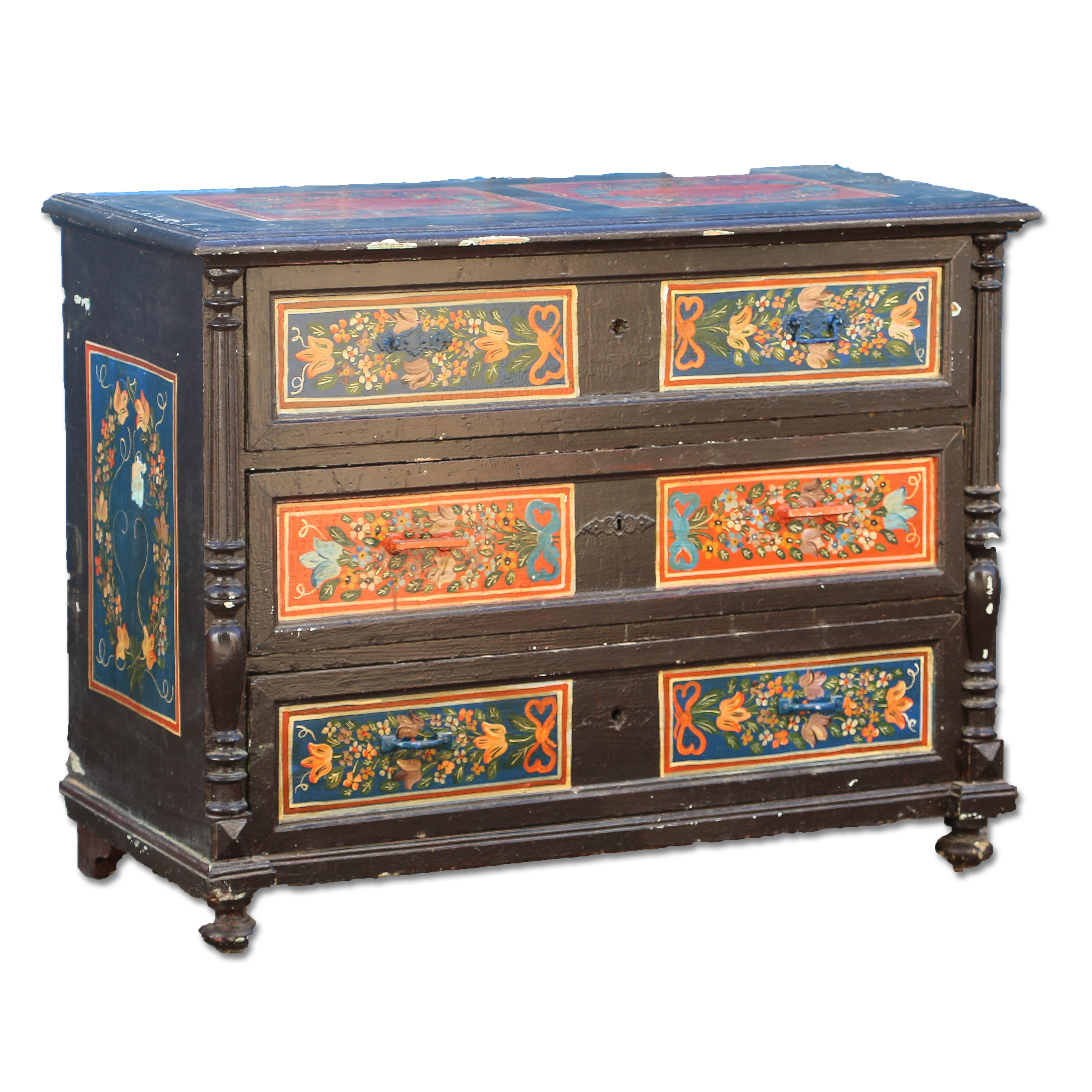 Antique Folk Art Painted Chest Of DrawersReturn To