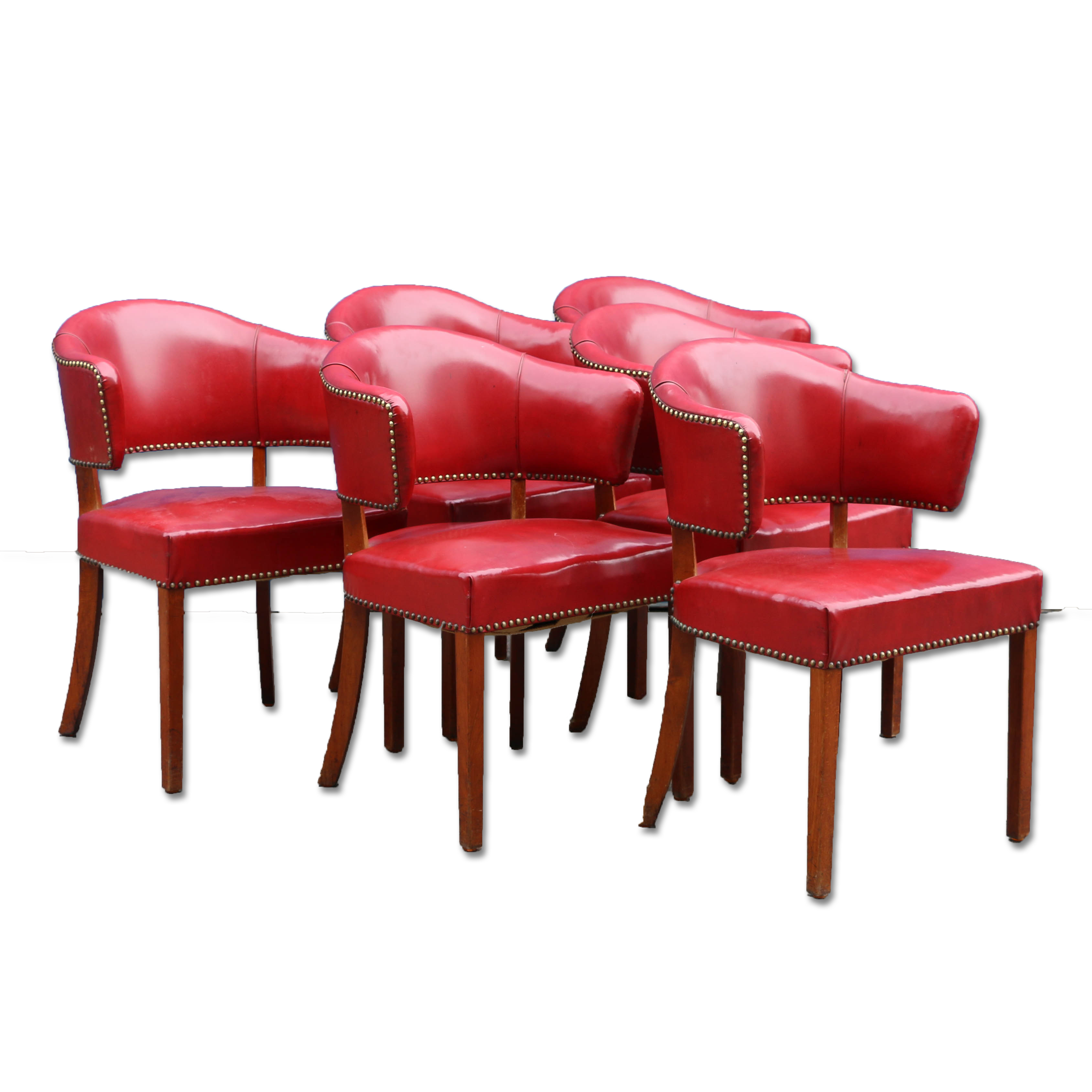Set Of 6 Red Danish Barrel Back Side Chairsreturn To Chairs Arm