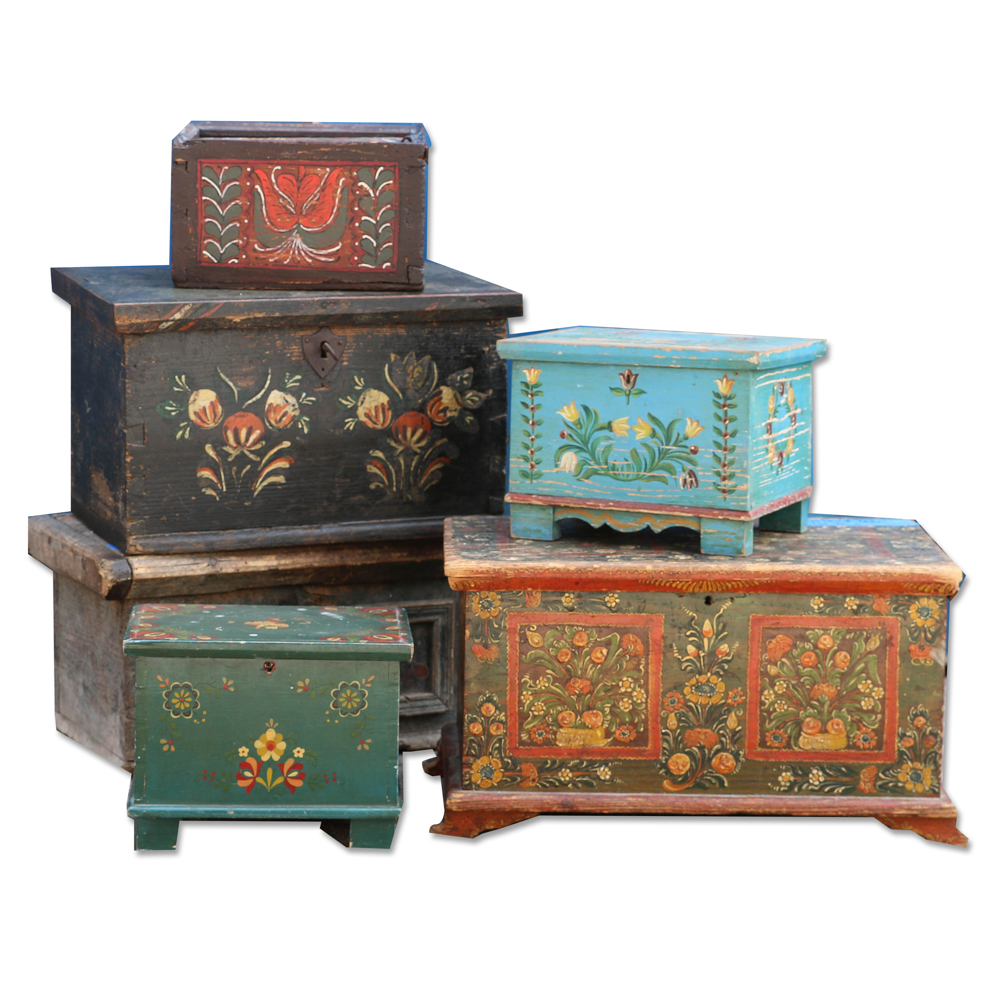 A Variety Of Folk Art Painted Boxes From Hungary