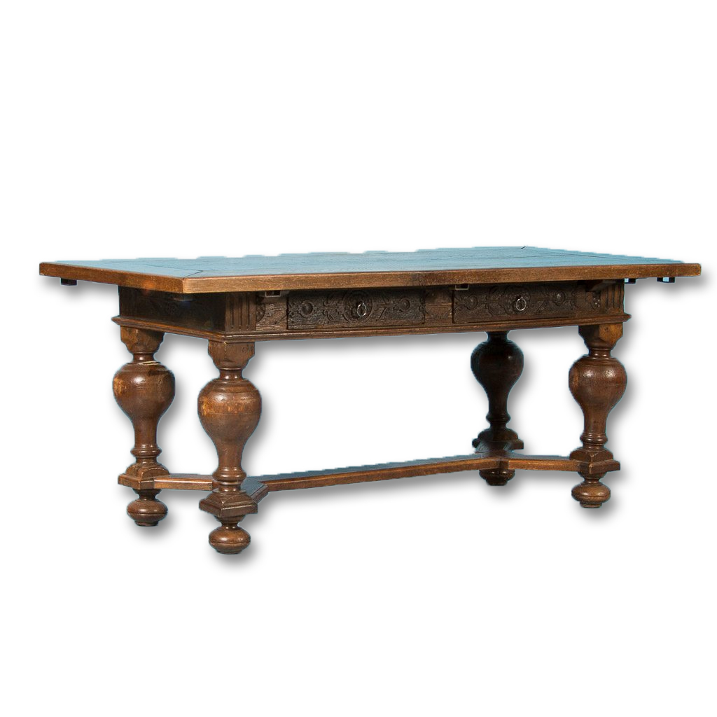 Antique Danish Carved Oak Dining Table Circa 1820 1860