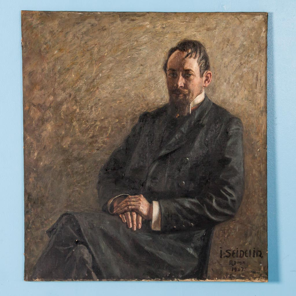 Antique Early 20th Century Original Danish Oil Painting Portrait Of A Sitting Gentleman