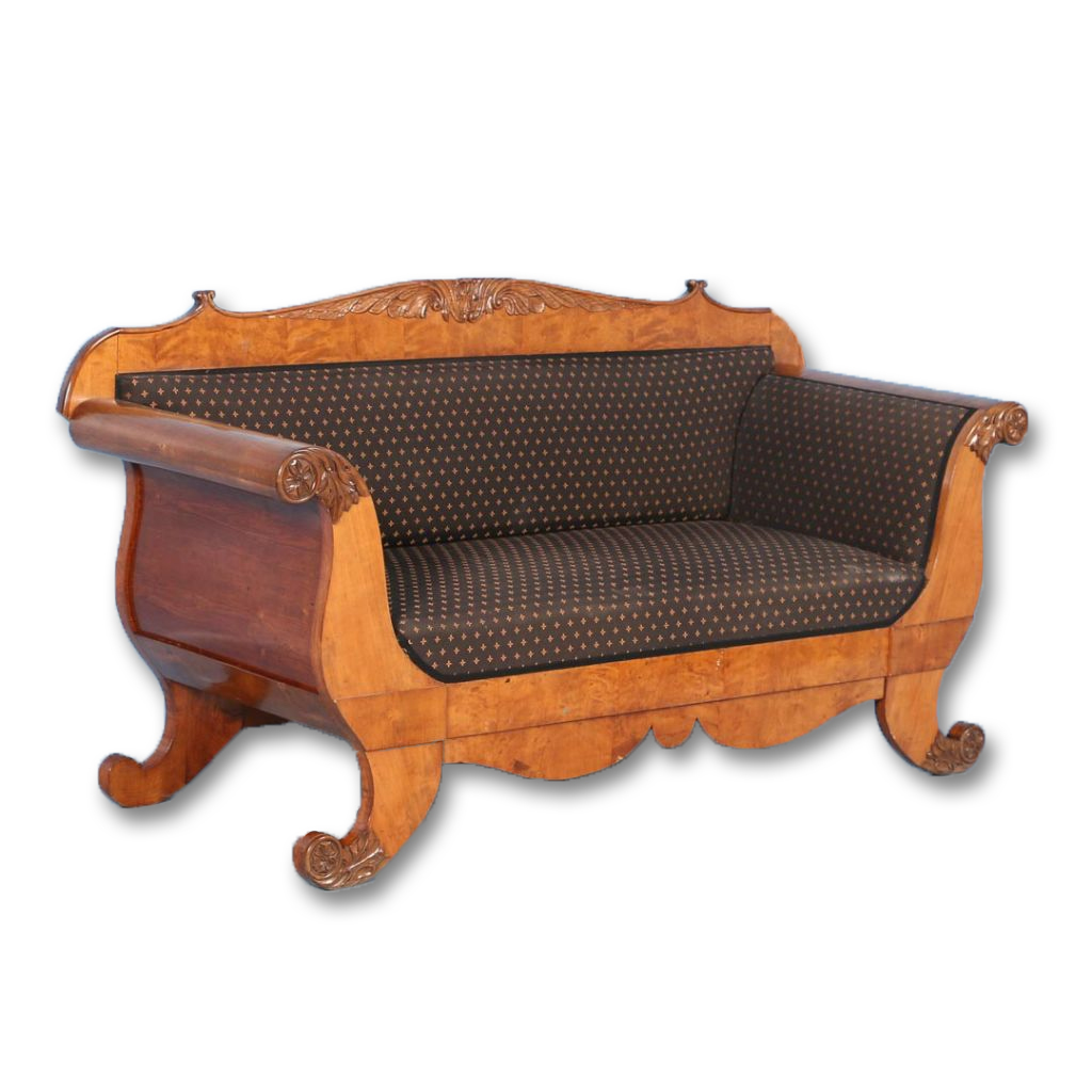 Antique 19th Century Karl Johan Birch Sofa Bench From Sweden