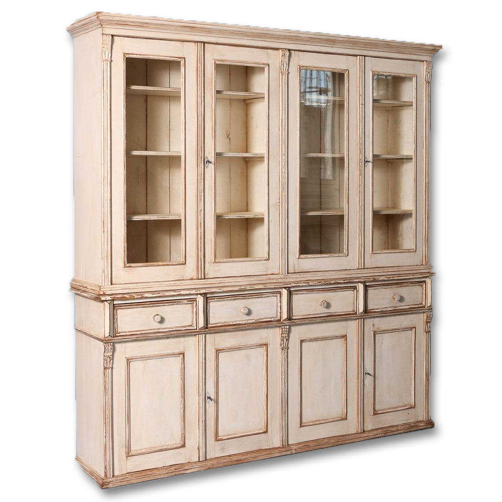 New custom pine glass front bookcase cabinet with off white paintreturn to bookcases
