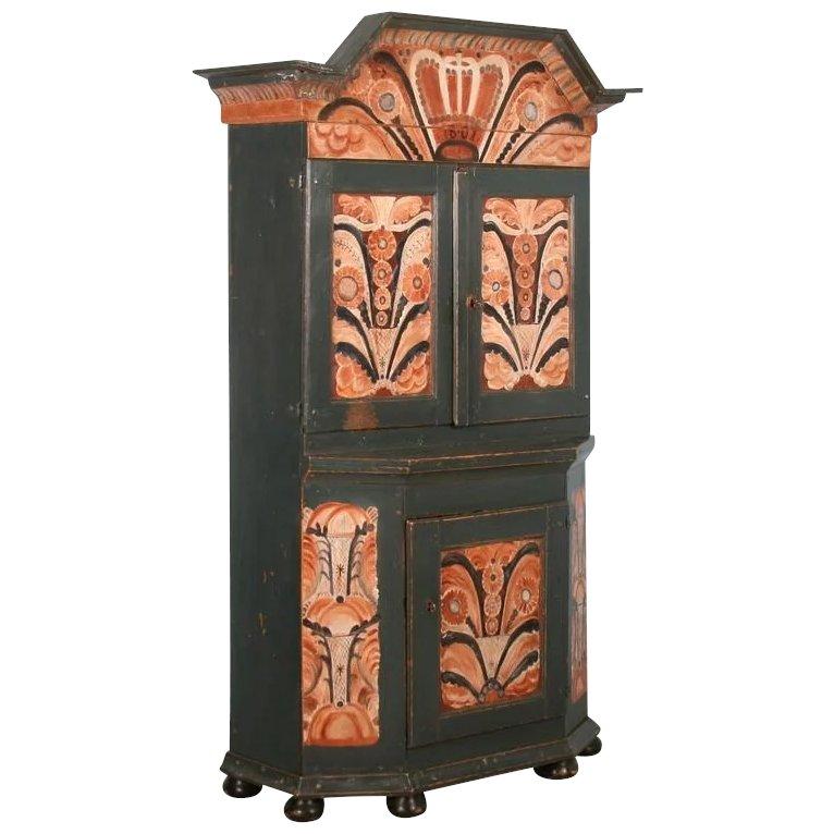 Antique Painted Swedish Cabinet/Cupboard, Circa 1800-40 - Cabinets & Cupboards Scandinavian Antiques European Antique Dealer