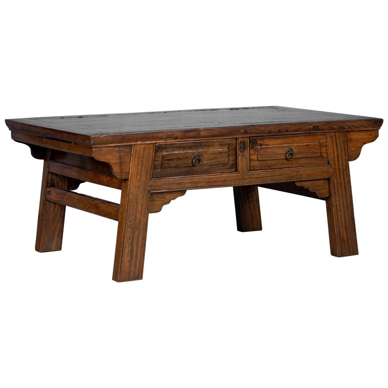 Antique Coffee Table.Antique Laquered Chinese Elm Coffee Table