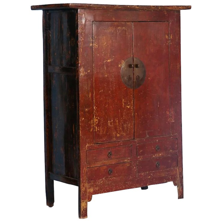Large 19th Century Antique Red Lacquered Cabinet Armoire From Shanxi China Return To Armoires Wardrobes