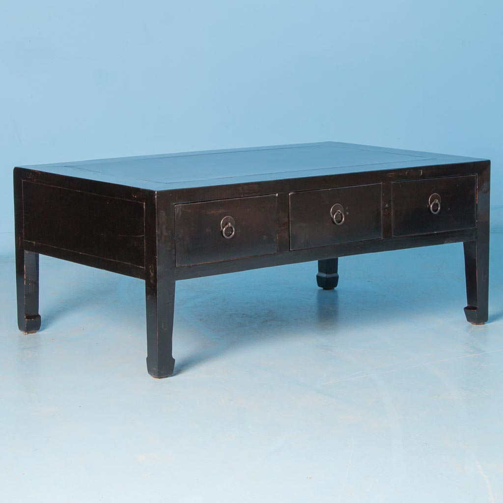Antique 19th Century Chinese Black Lacquered Coffee Table