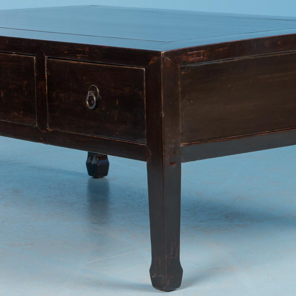 Antique Chinese Coffee Tables: Antique 19th Century Chinese Black Lacquered Coffee Table