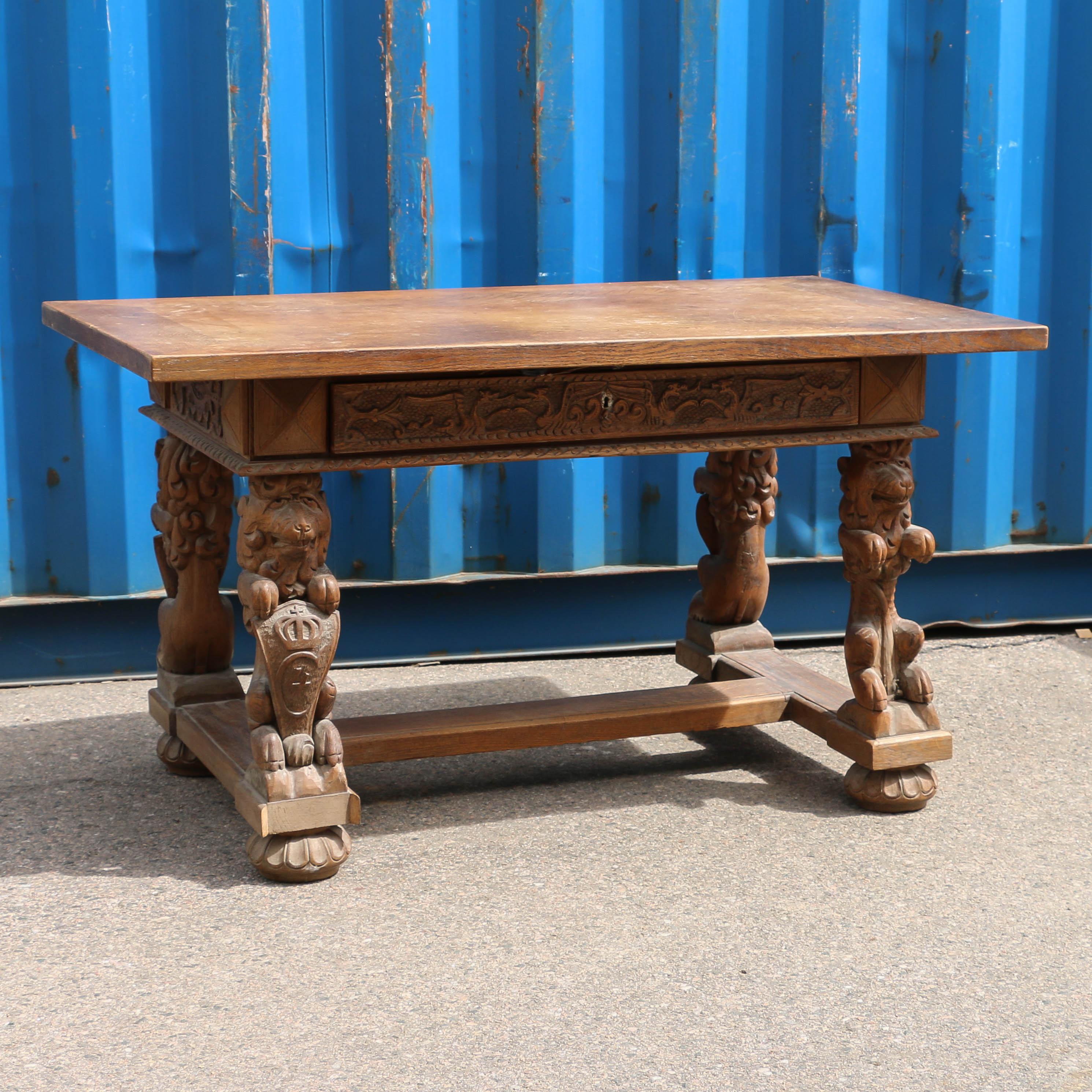 Carved Antique Danish Oak Library Tablereturn To Desks