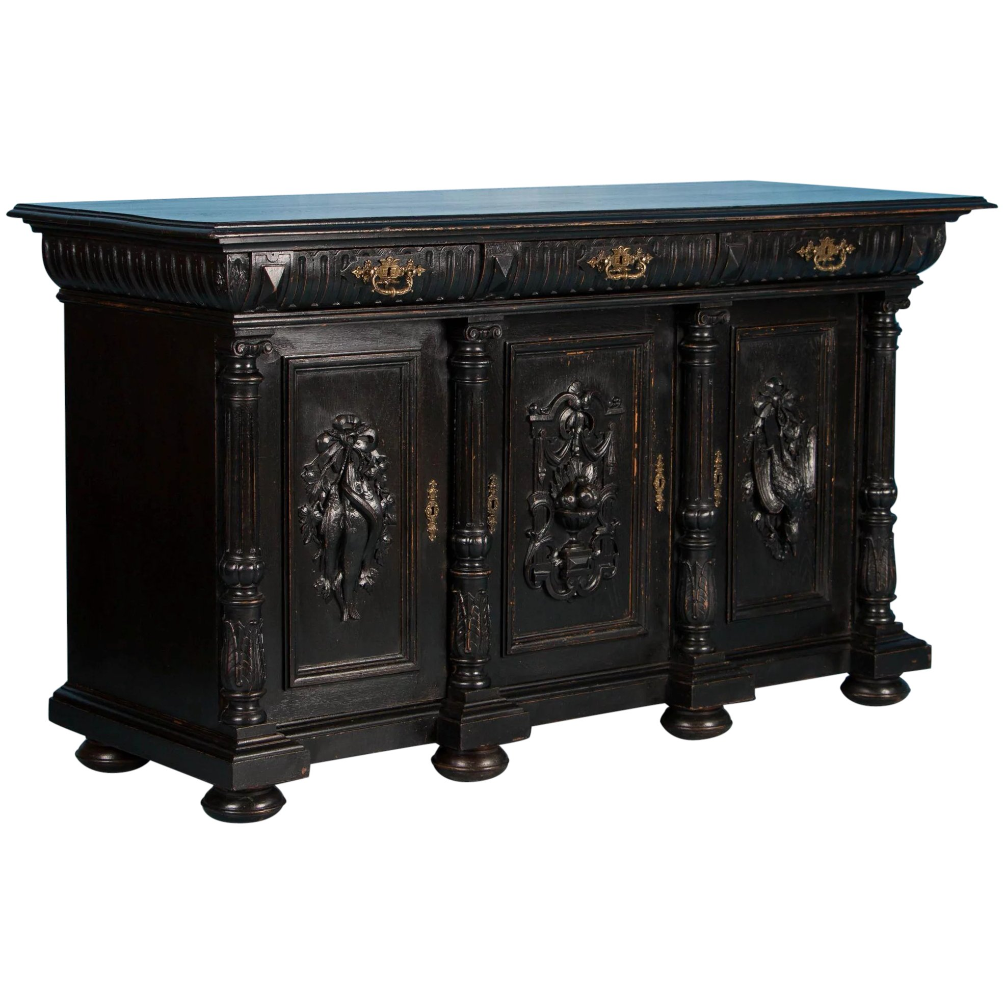 Carved Antique Danish Sideboard With Black Paint