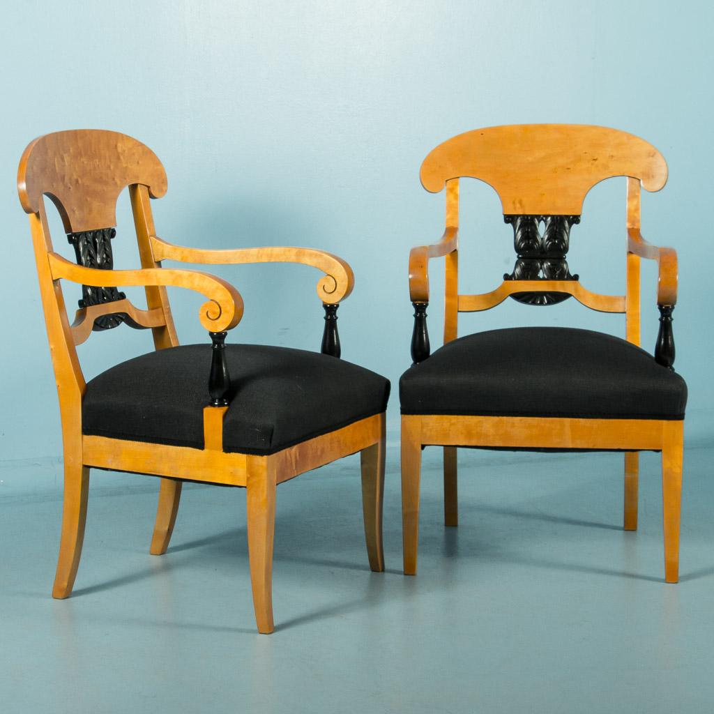 Pair Of Antique Biedermeier Birch Arm Chairs From Sweden Ebay