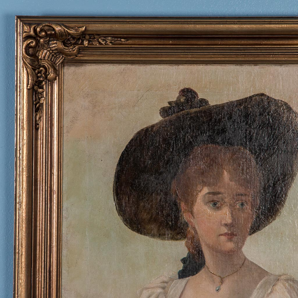 Antique 19th Century English Oil Painting Portrait Of A