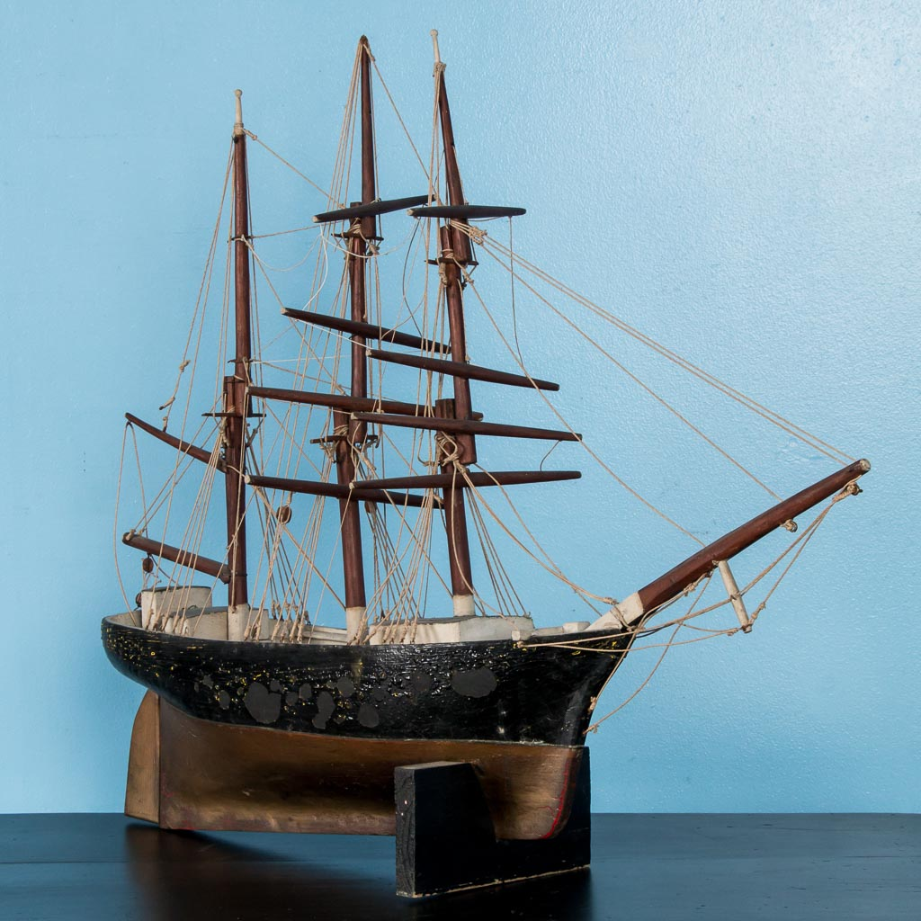 Early 20th Century Antique Model Ship From Denmark