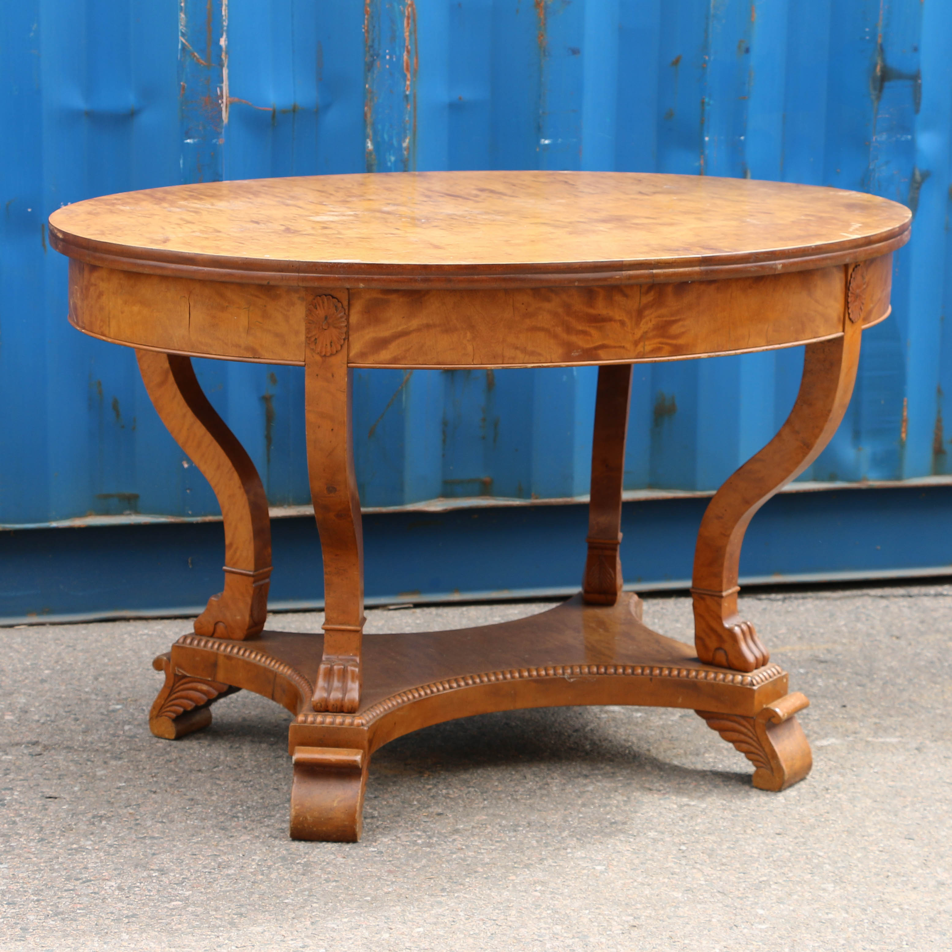 Antique Oval Swedish Birch Entry TableReturn To Consoles