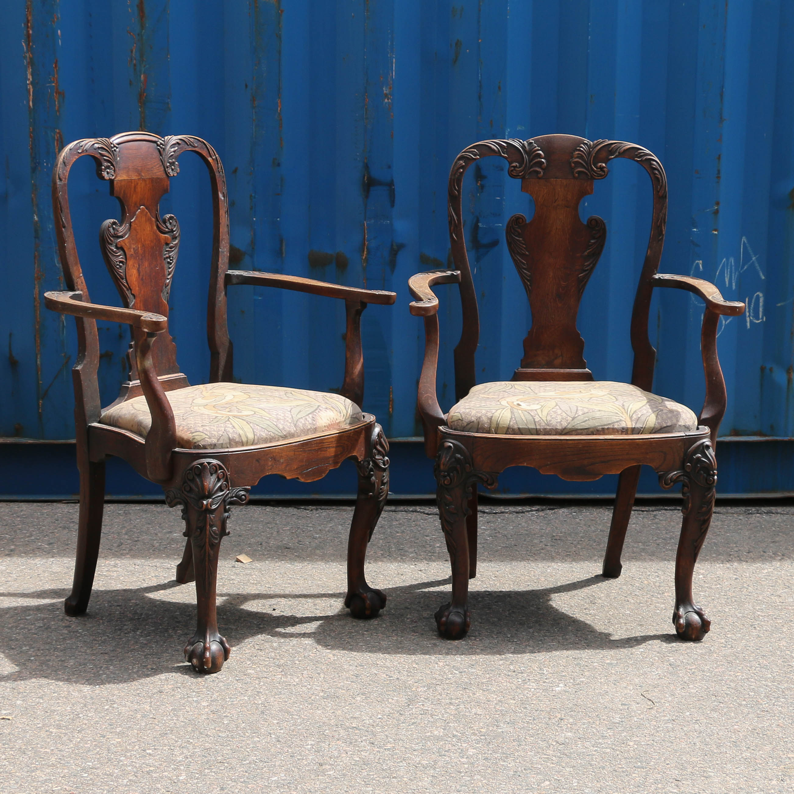 Pair Of Antique Arm Chairs With Ball And Claw Feetreturn To
