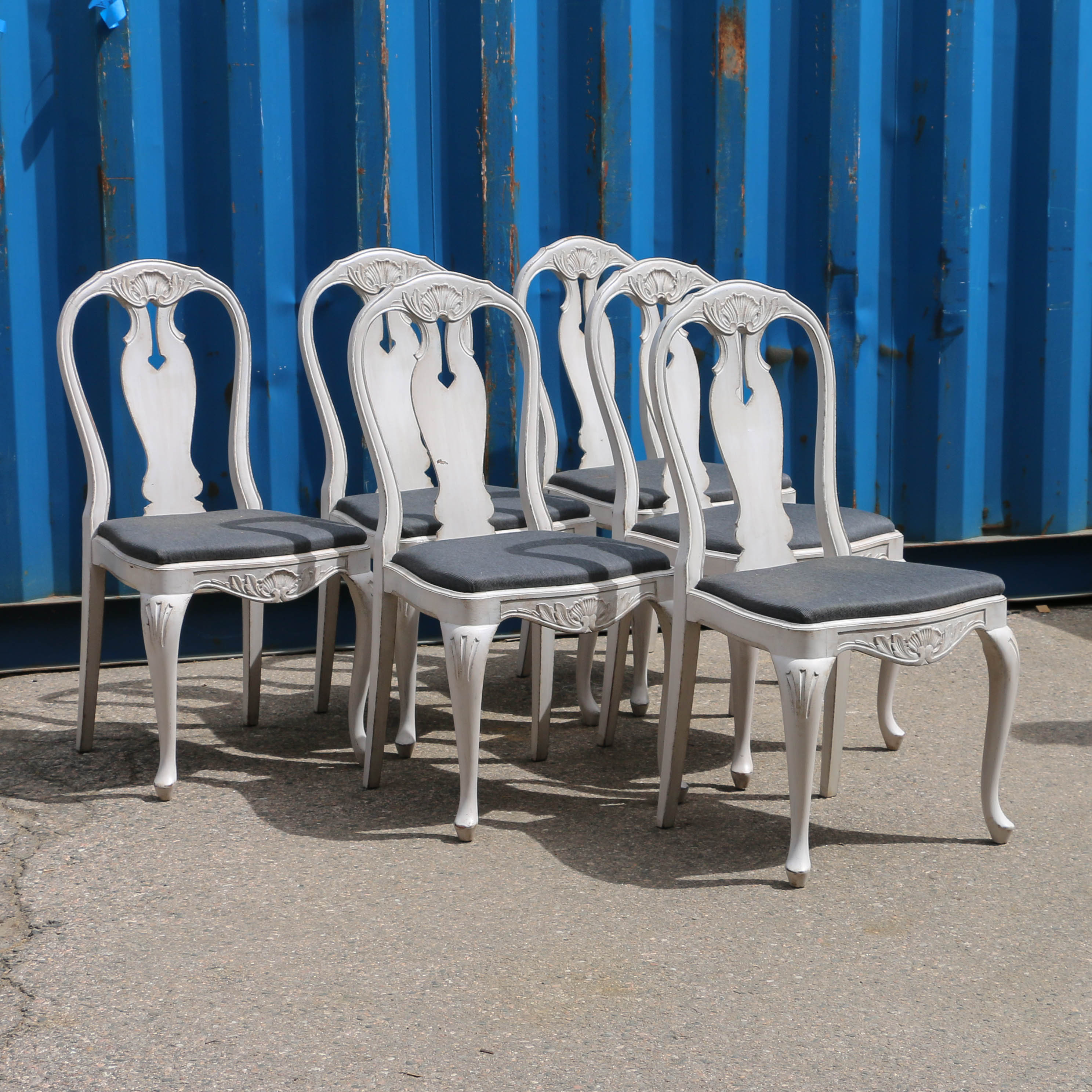 Set Of 6 Swedish Gray Painted Side Chairs
