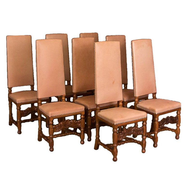 Set of 8 Leather Upholstered High Back Oak Dining Chairs - Chairs & Arm Chairs Scandinavian Antiques Antique Chairs For Sale