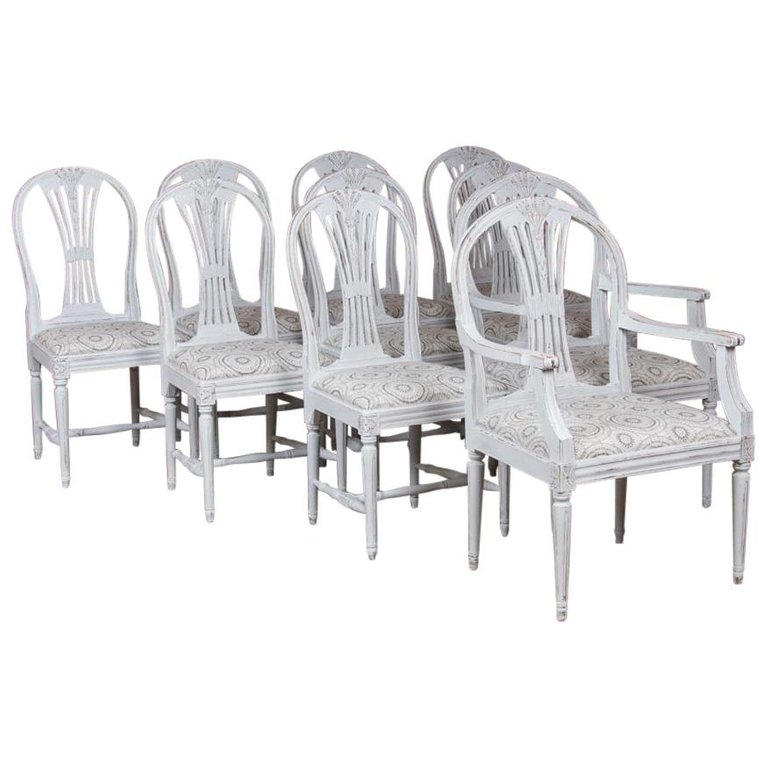 Admirable Set Of 10 Antique Swedish Gustavian Gray Painted Dining Chairs Theyellowbook Wood Chair Design Ideas Theyellowbookinfo
