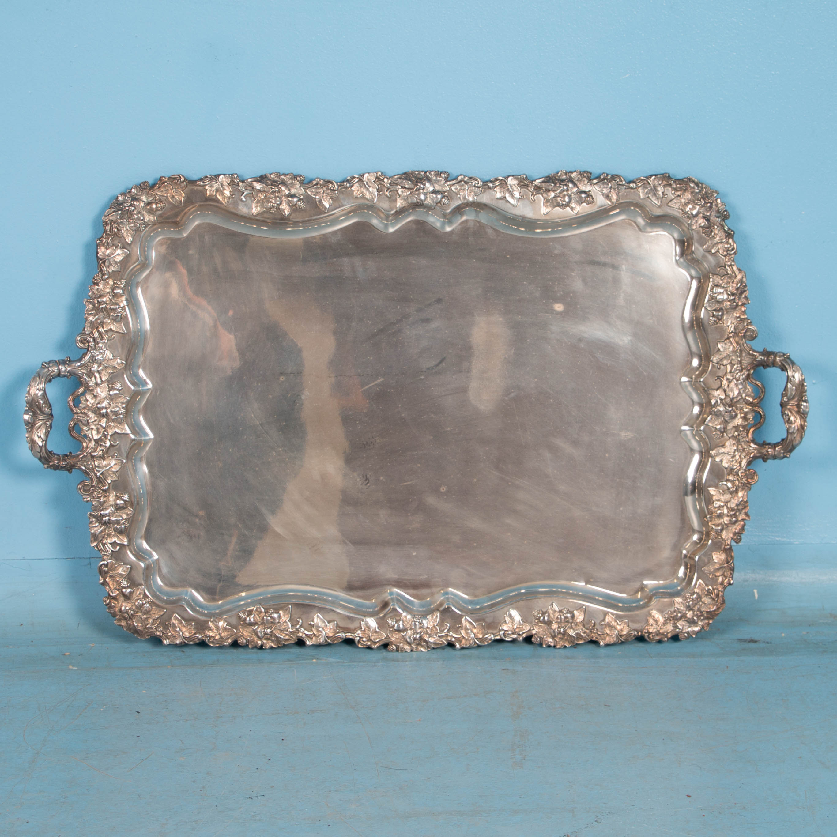 Silver Coffee Table Plate: Antique Silver Plate Tray Table