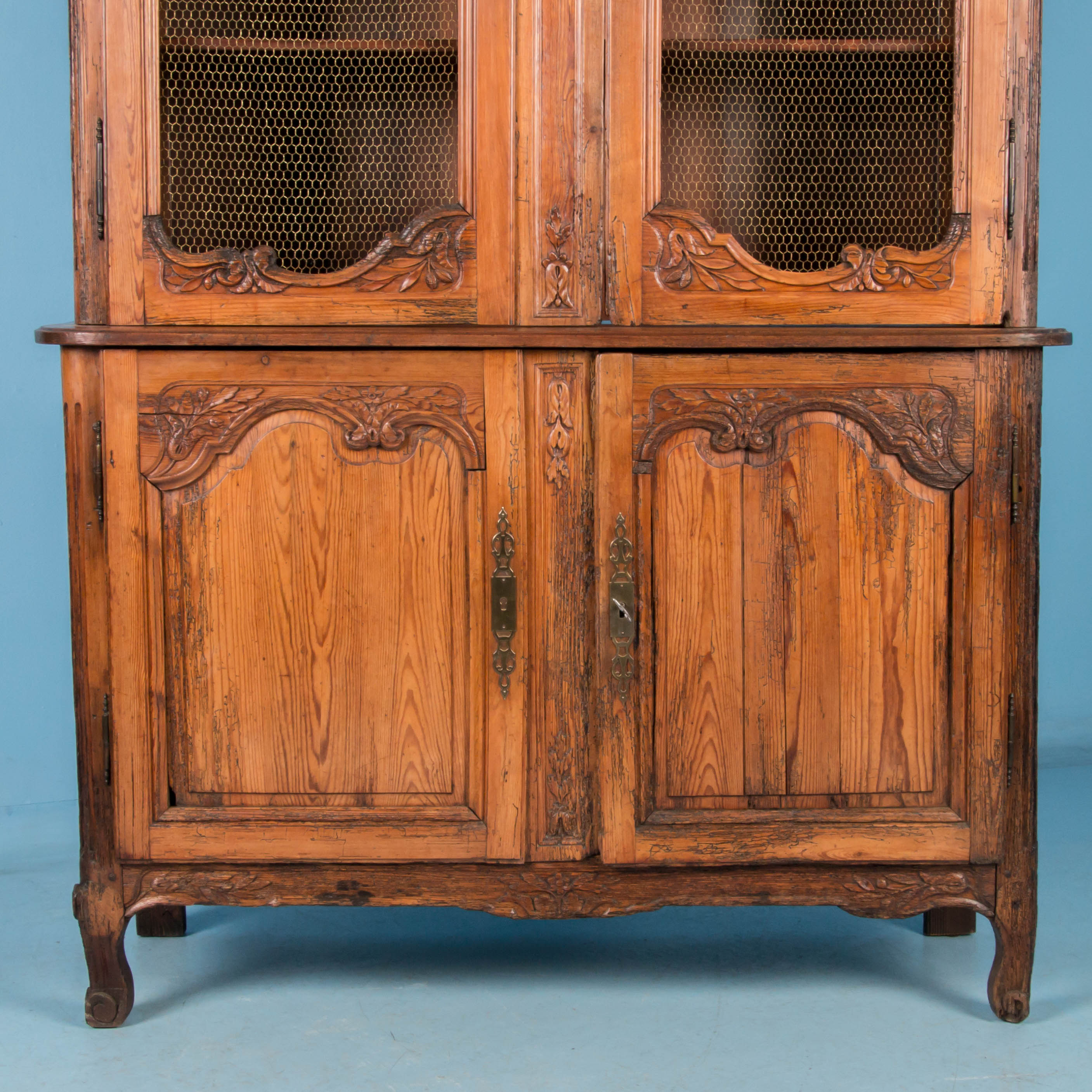 French Provincial Kitchen Cabinets: Antique 19th Century Hand Carved French Provincial