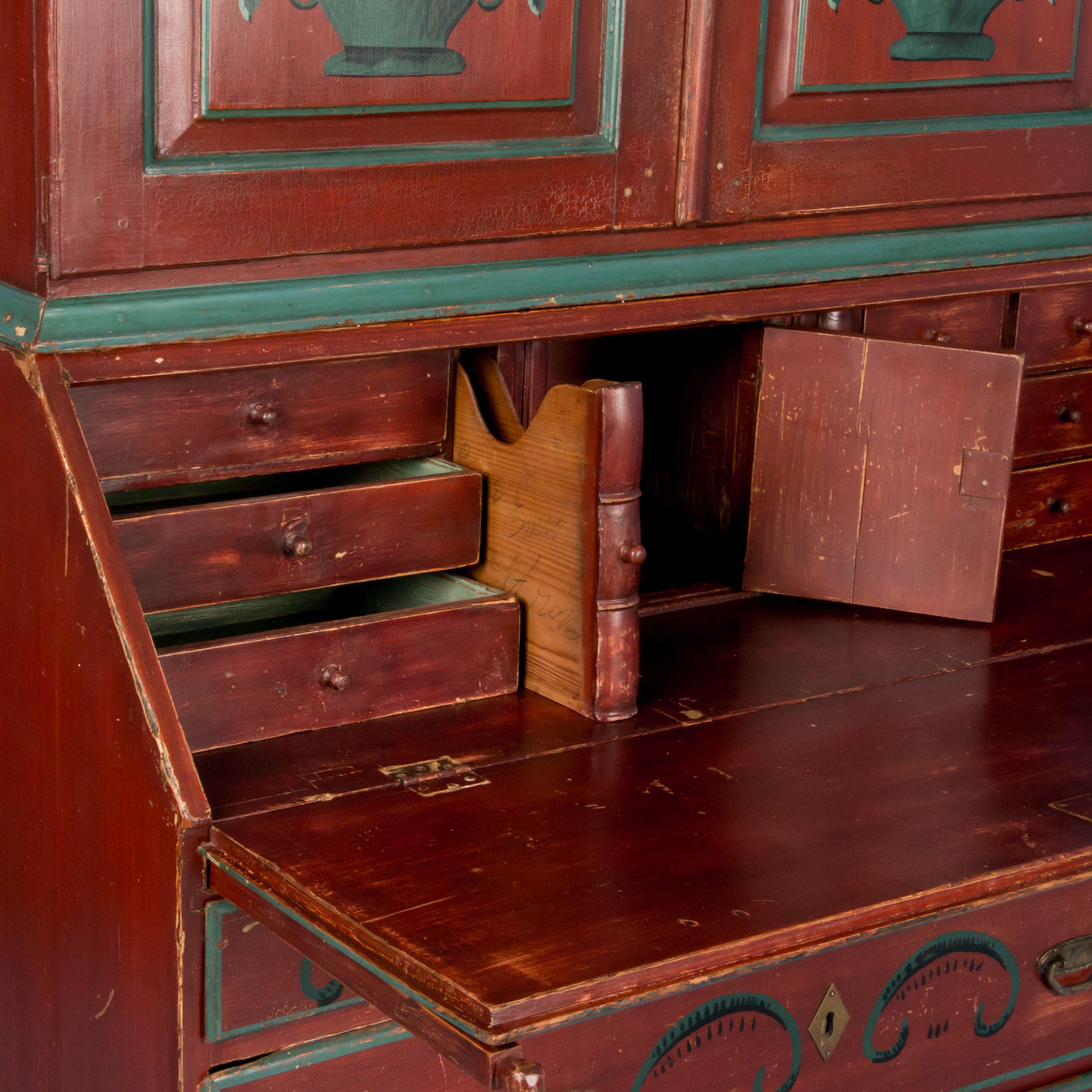 antique 19th century swedish secretary bureau desk with original red paint ebay. Black Bedroom Furniture Sets. Home Design Ideas