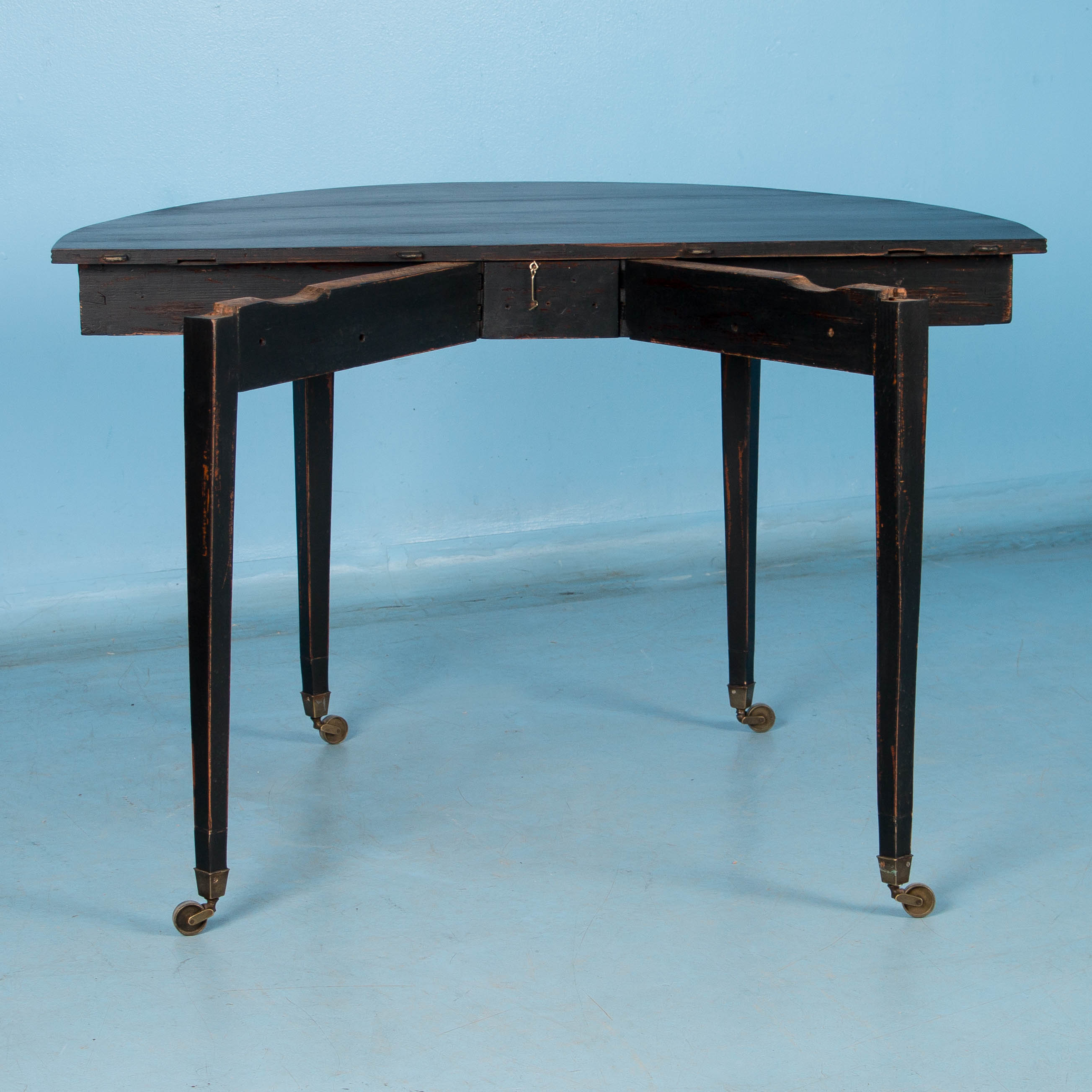 Pair of Black Painted Antique Swedish Demilune Tables | eBay
