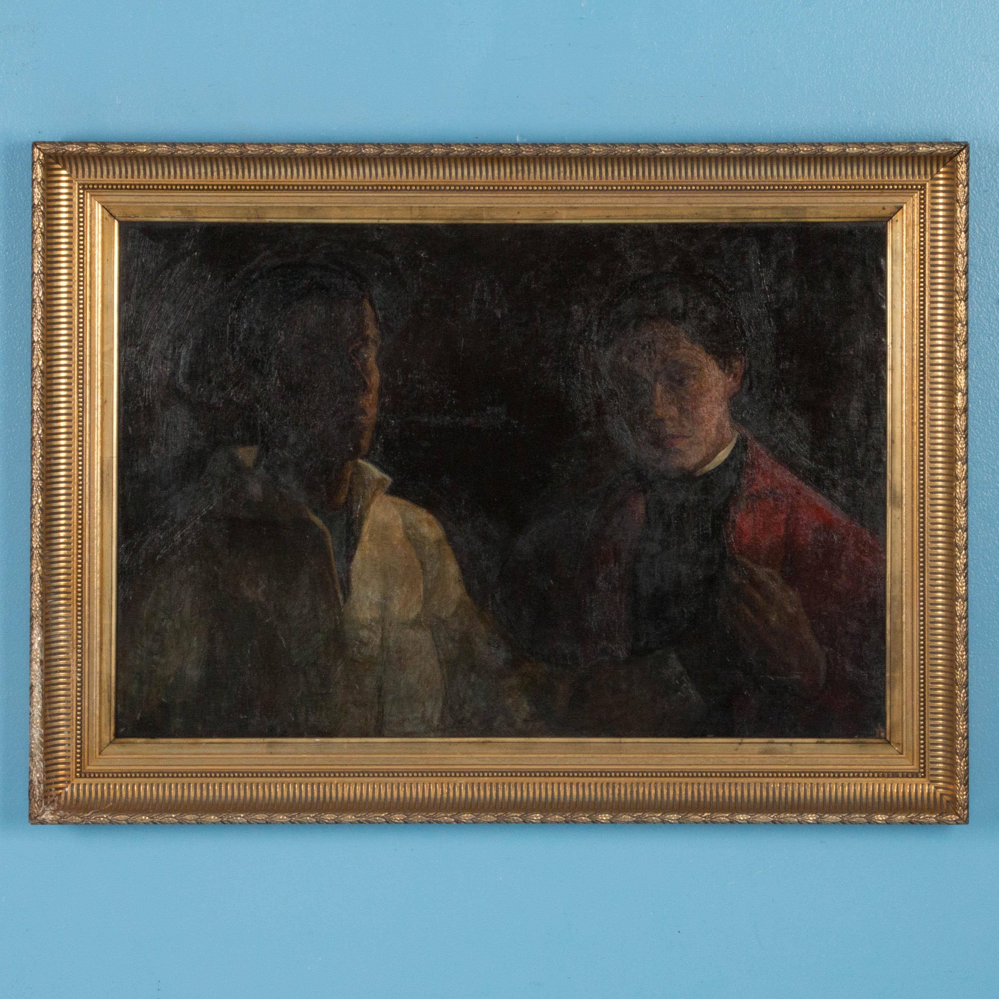 Antique 19th Century Oil Painting Portrait By Sigurd Wandel