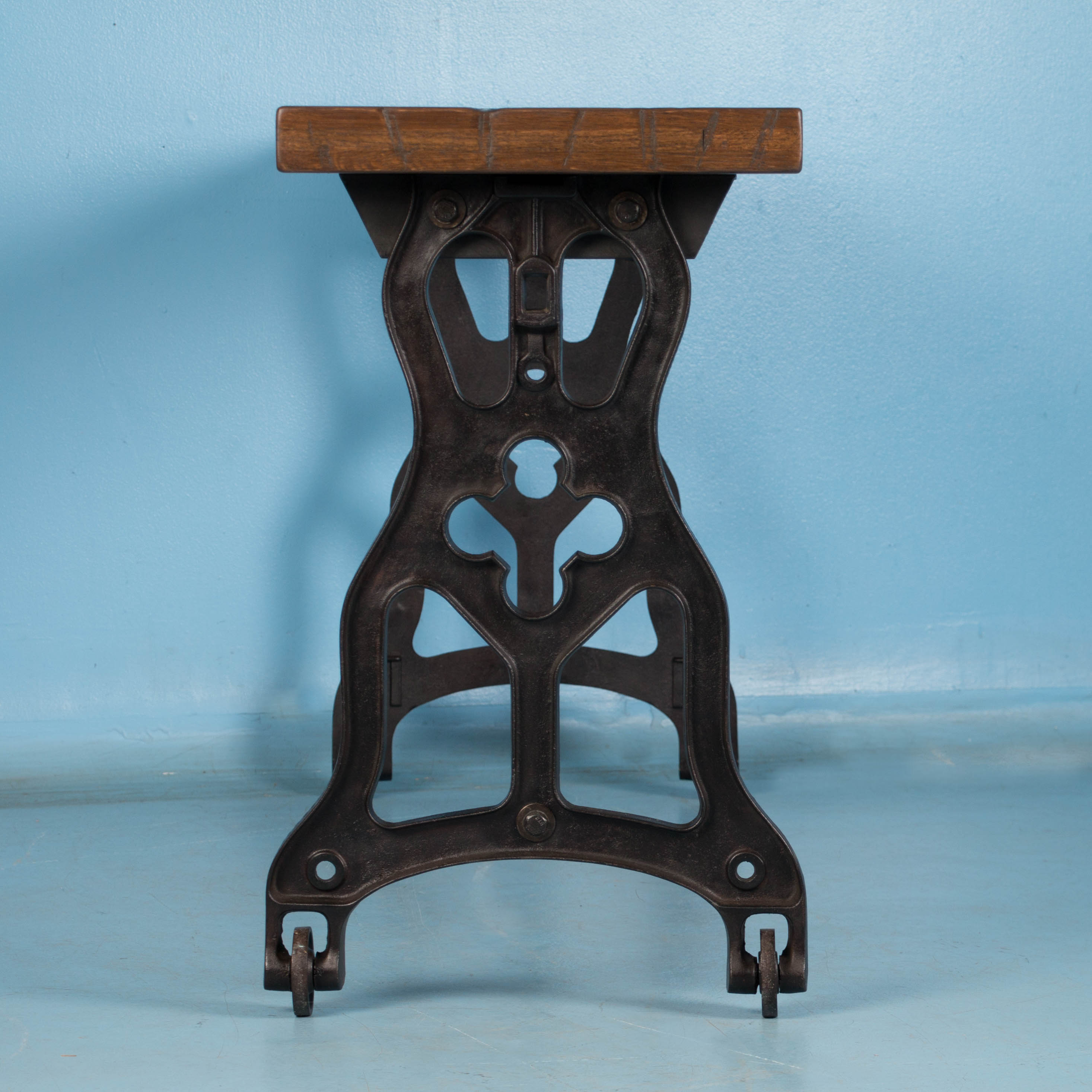 American Oak Console Table With Antique Industrial Cast