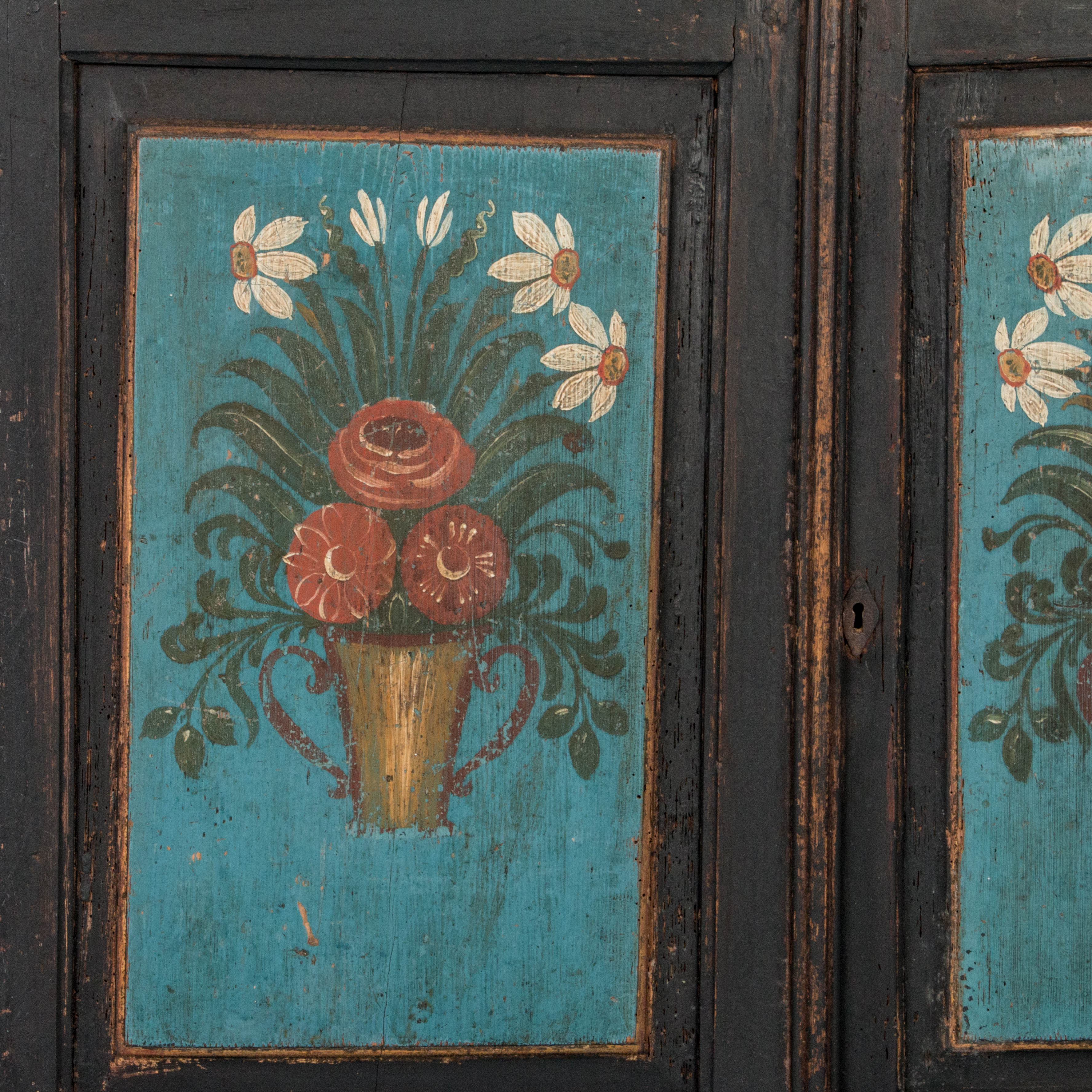 antique swedish country cabinet with original paint
