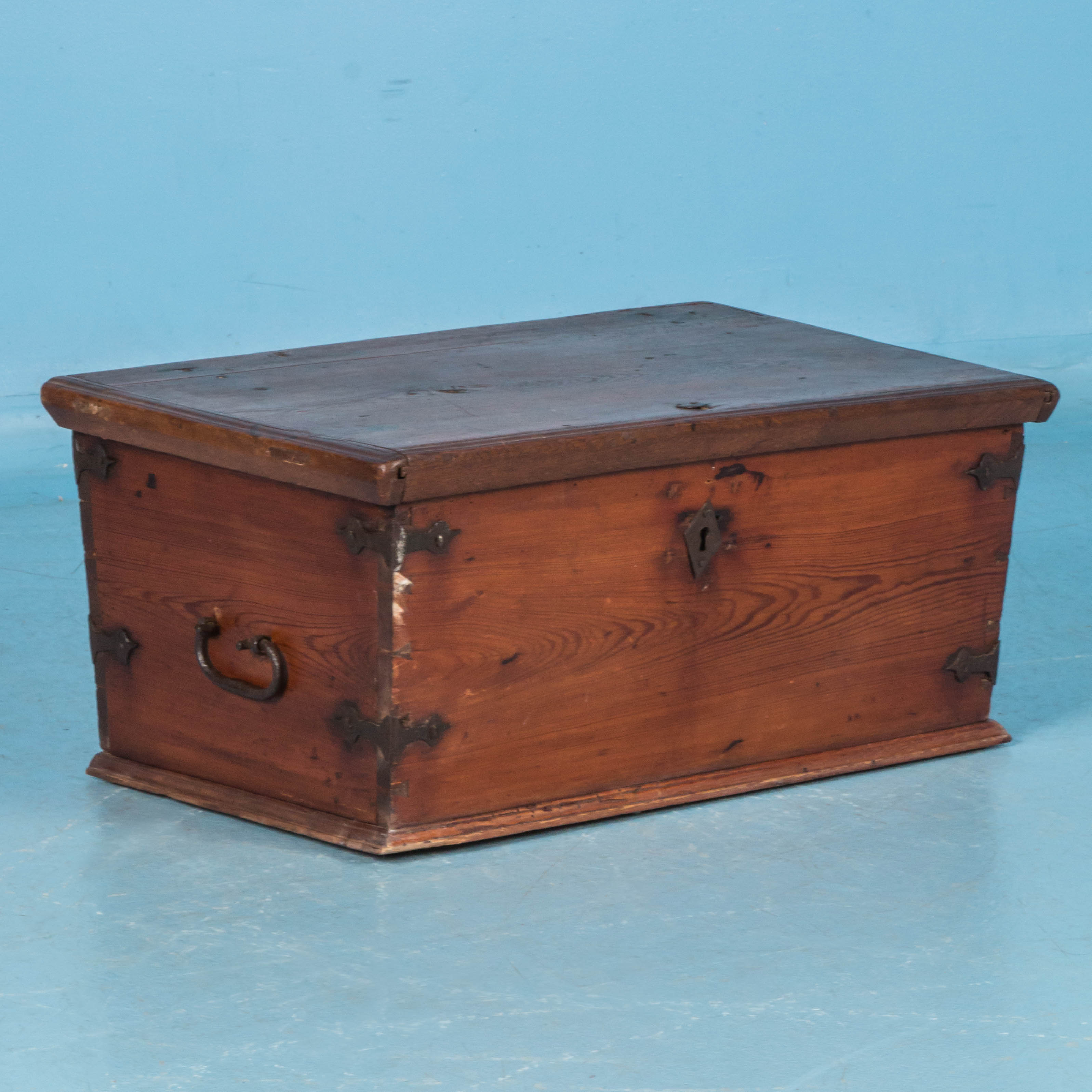 Small Antique 19th Century Pine Trunk From Sweden