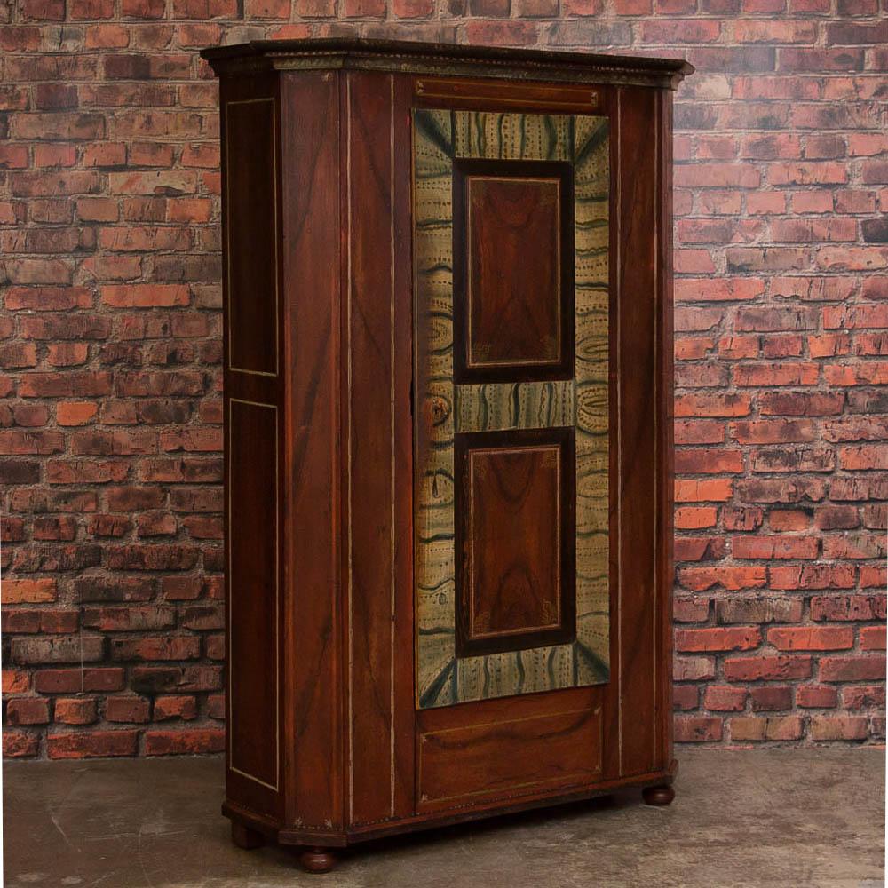 Antique German Single Door Armoire With Original Paint - Armoires & Wardrobes Scandinavian Antiques Antique Furniture For