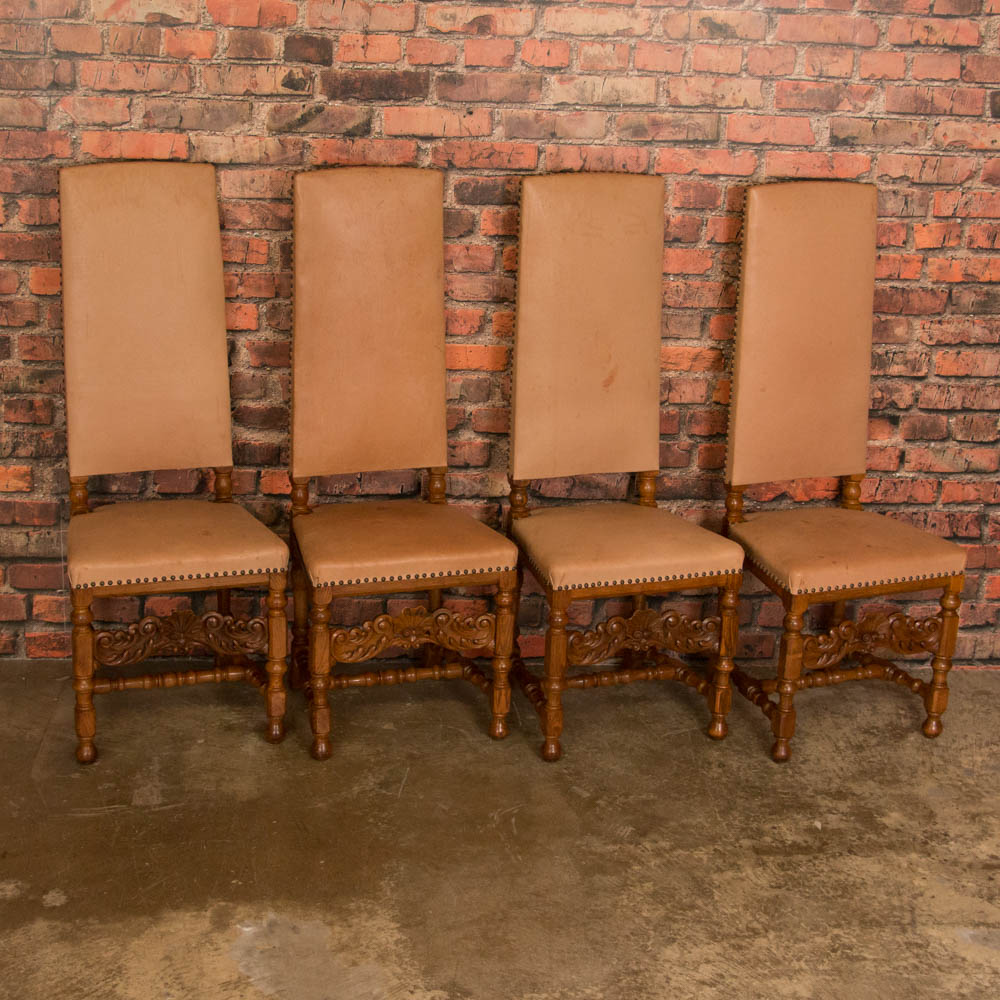 Set Of 8 Leather Upholstered High Back Oak Dining Chairs