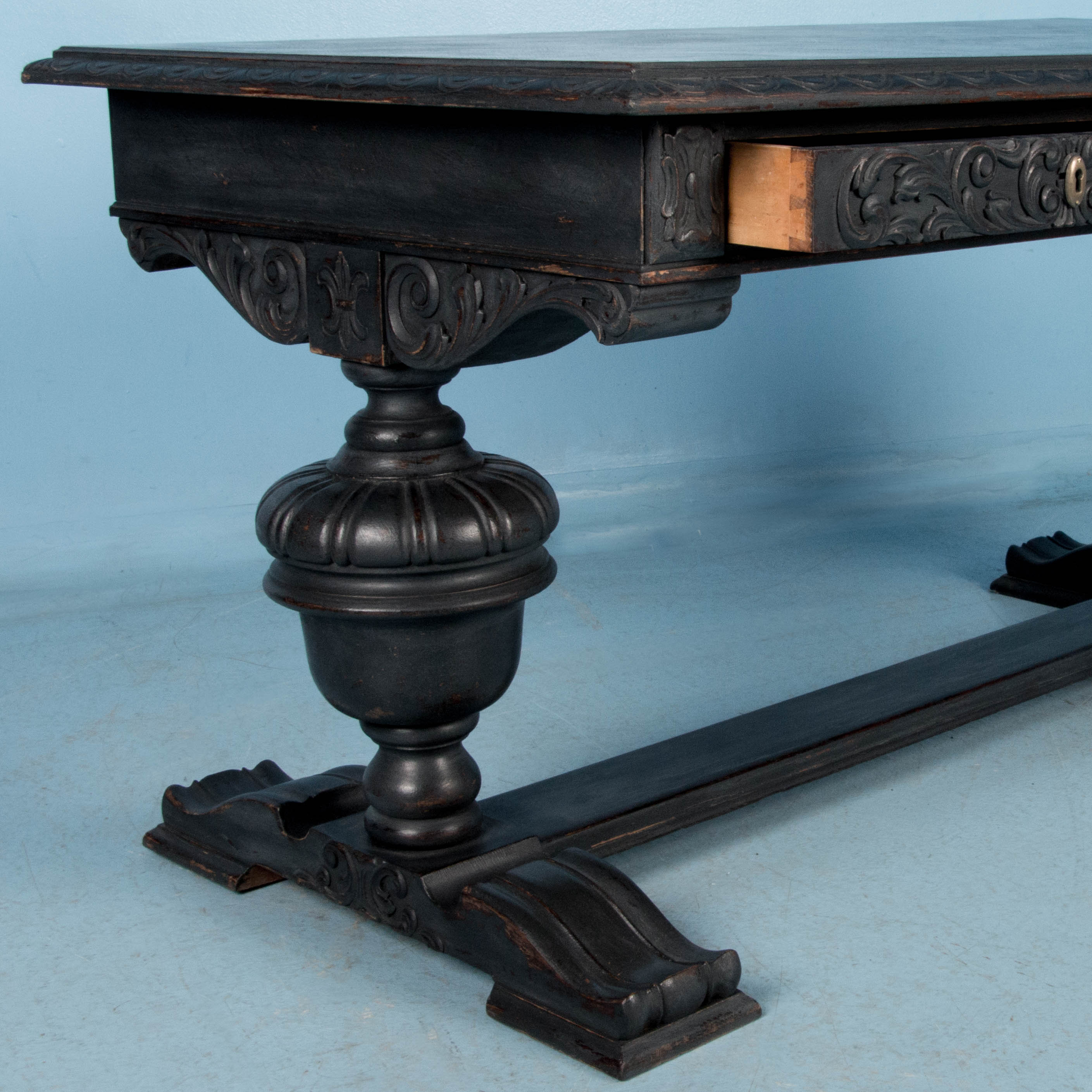 Antique Hand Carved Library Table Desk From Denmark Painted Black | eBay