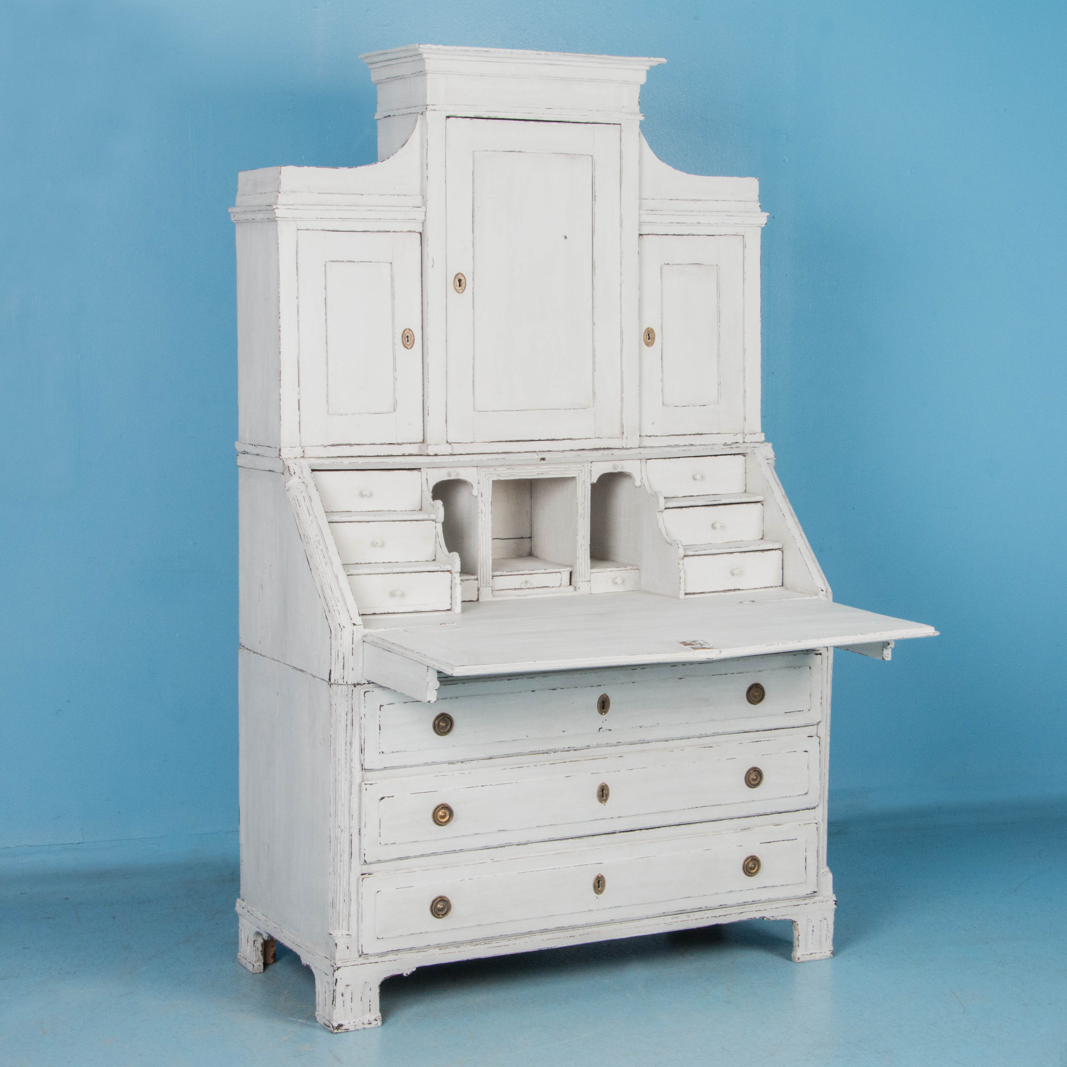 Graceful Swedish Antique Secretary With White Chalk Paintreturn To Desks
