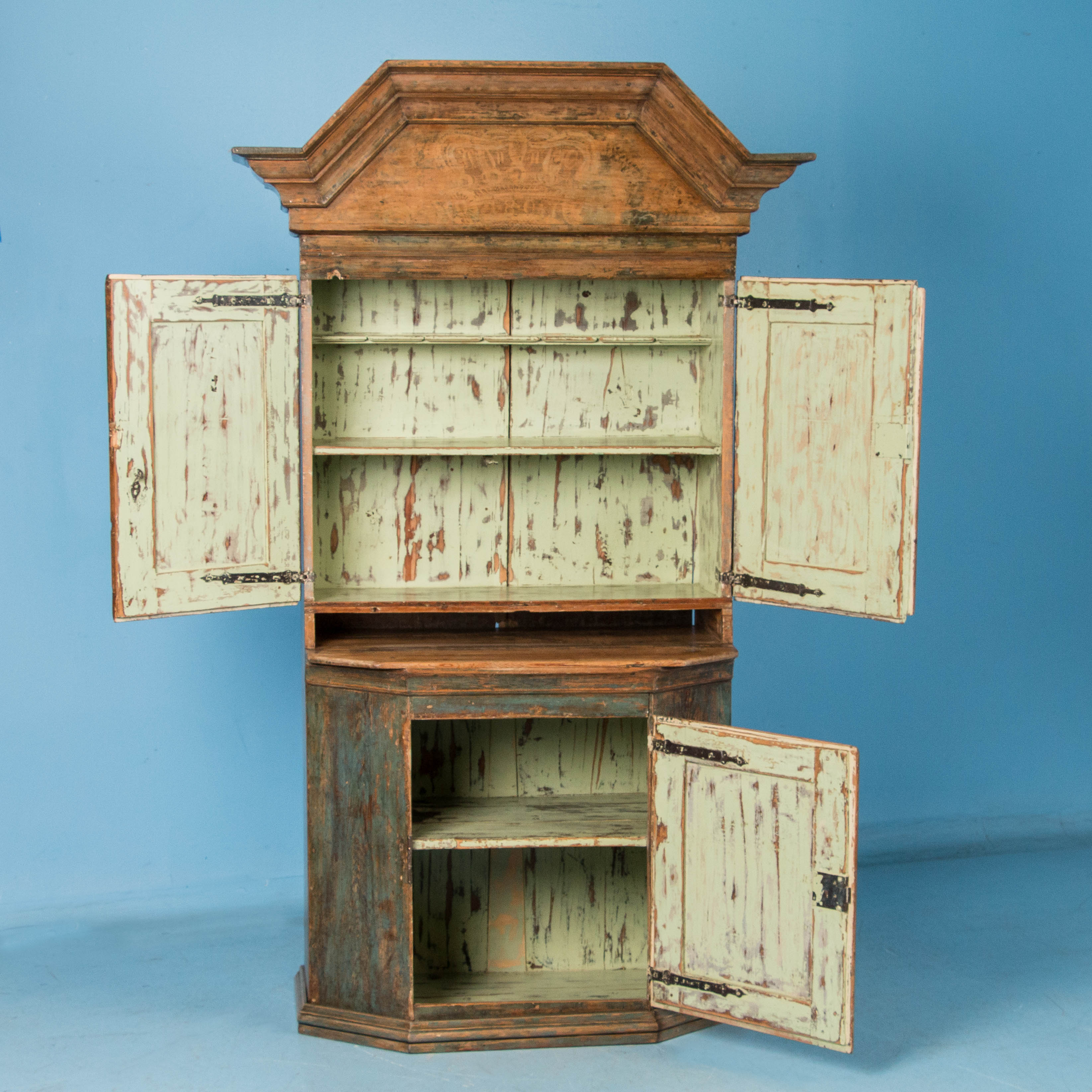 Hand Painted Kitchen Cabinets: Antique Hand Painted Blue Swedish Folk Art Cabinet