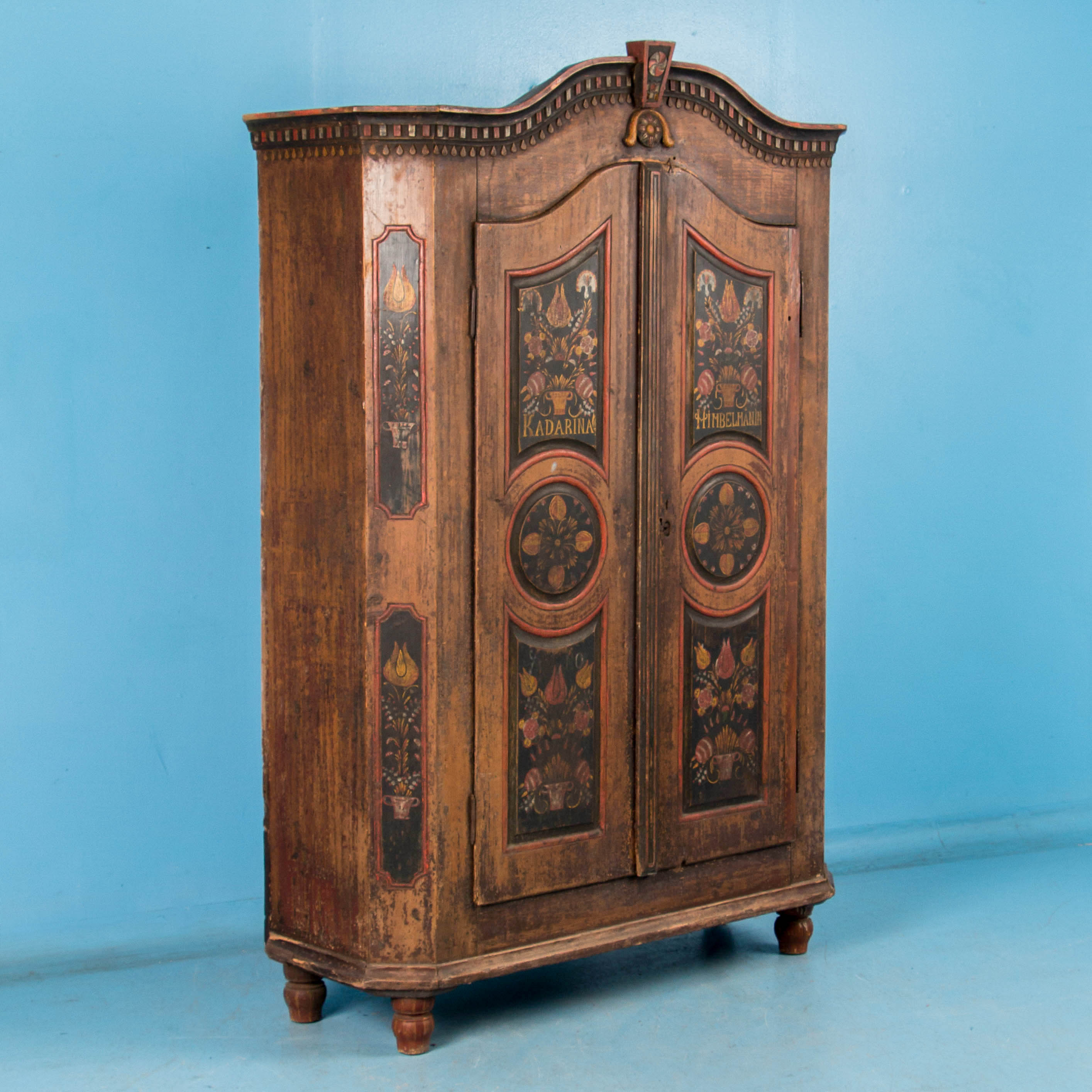 Exceptional Antique Armoire with Original Folk Art Paint. Armoires   Wardrobes   Scandinavian Antiques   Antique Furniture
