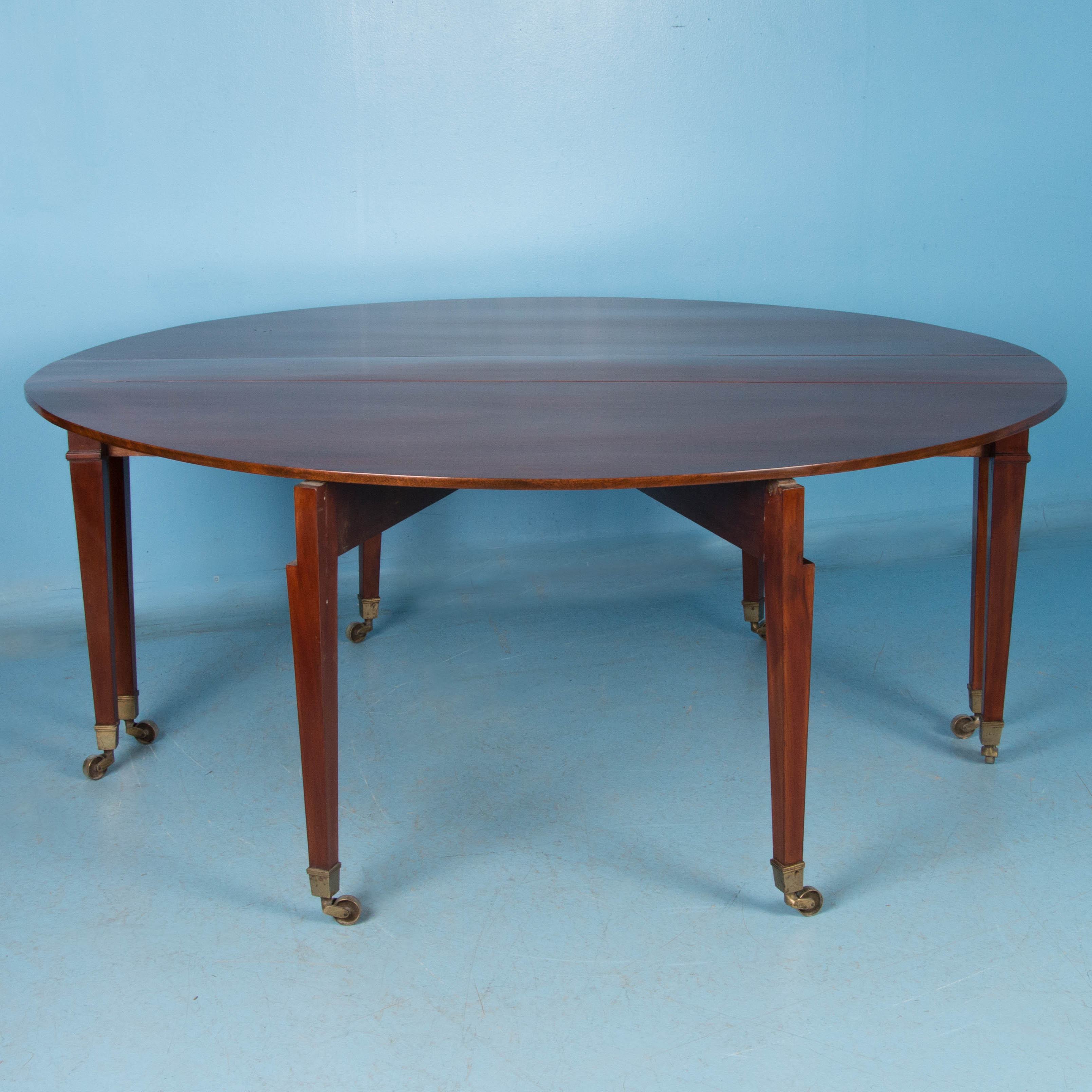 Large Antique Mahogany Drop Leaf Table Also Serves As