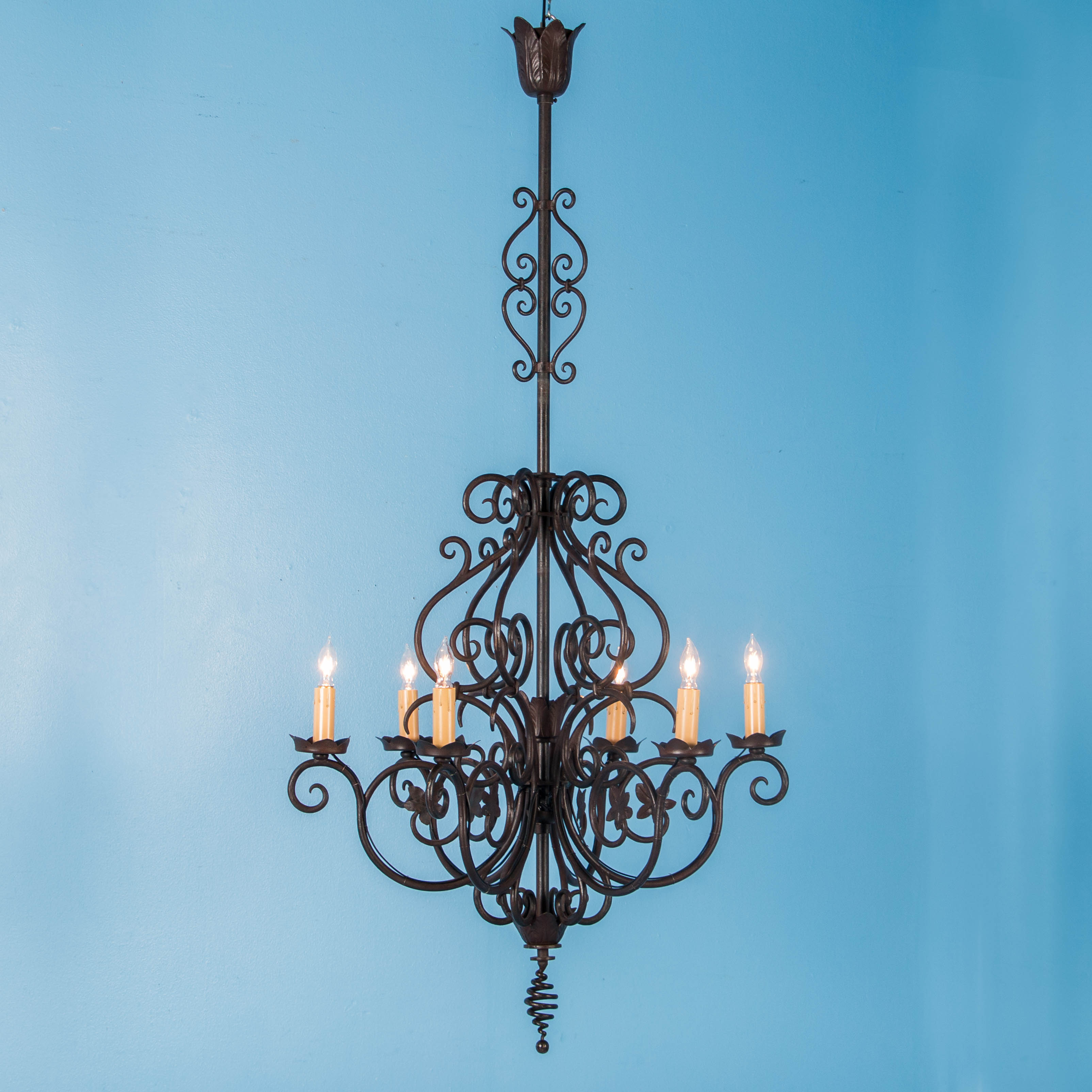Antique French Six Light Wrought Iron Chandelier