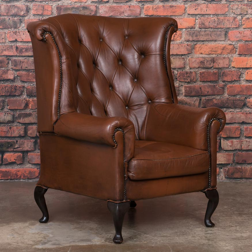 Outstanding Details About Early 20Th Century Danish Brown Leather Wing Back Chair Short Links Chair Design For Home Short Linksinfo