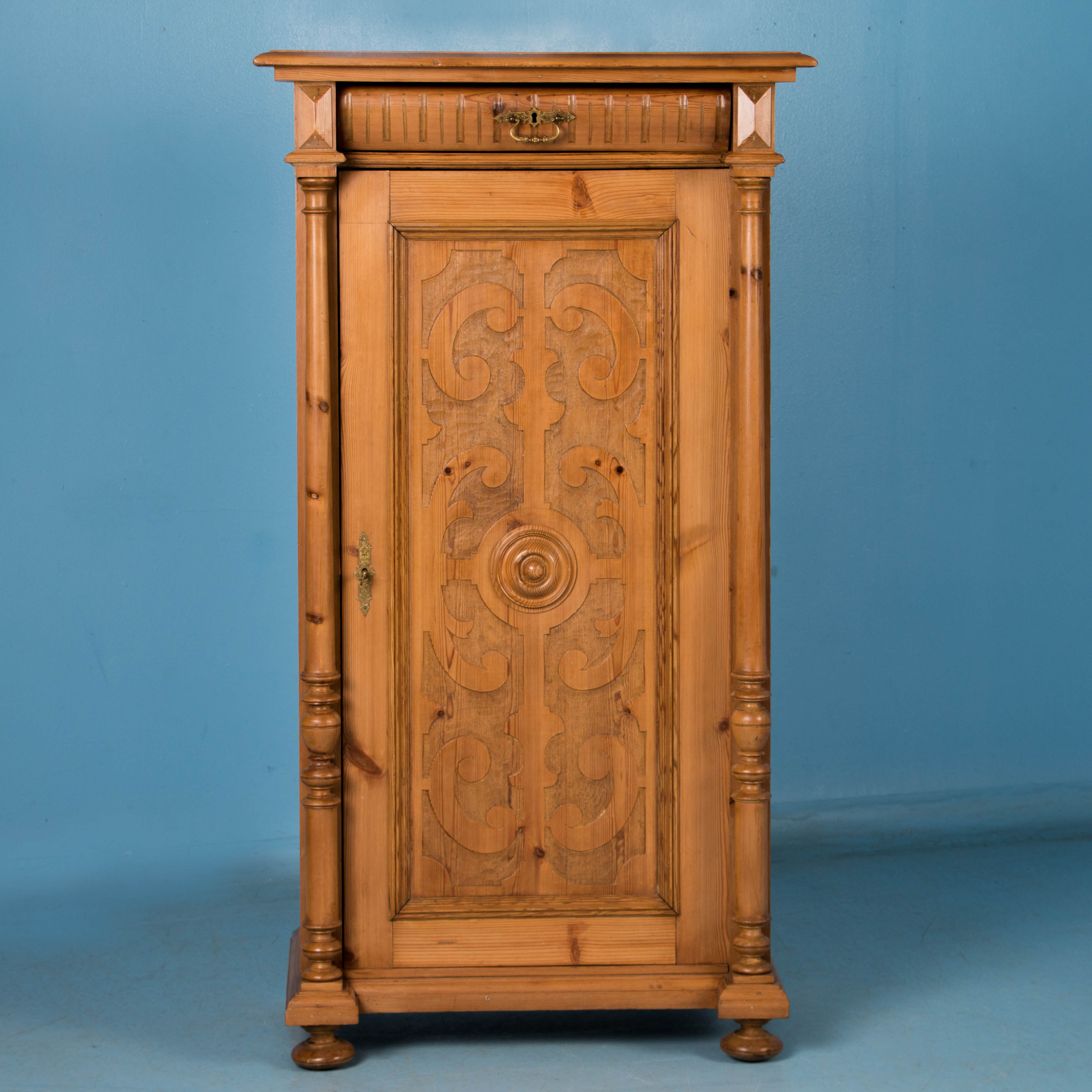 Carved Antique Single Door Pine Armoire From Denmark | eBay