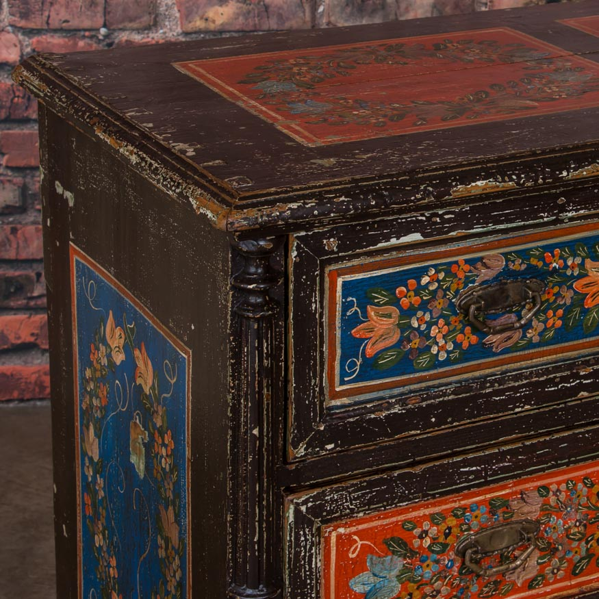 Antique Folk Art Painted Chest Of Drawers From Romania Ebay