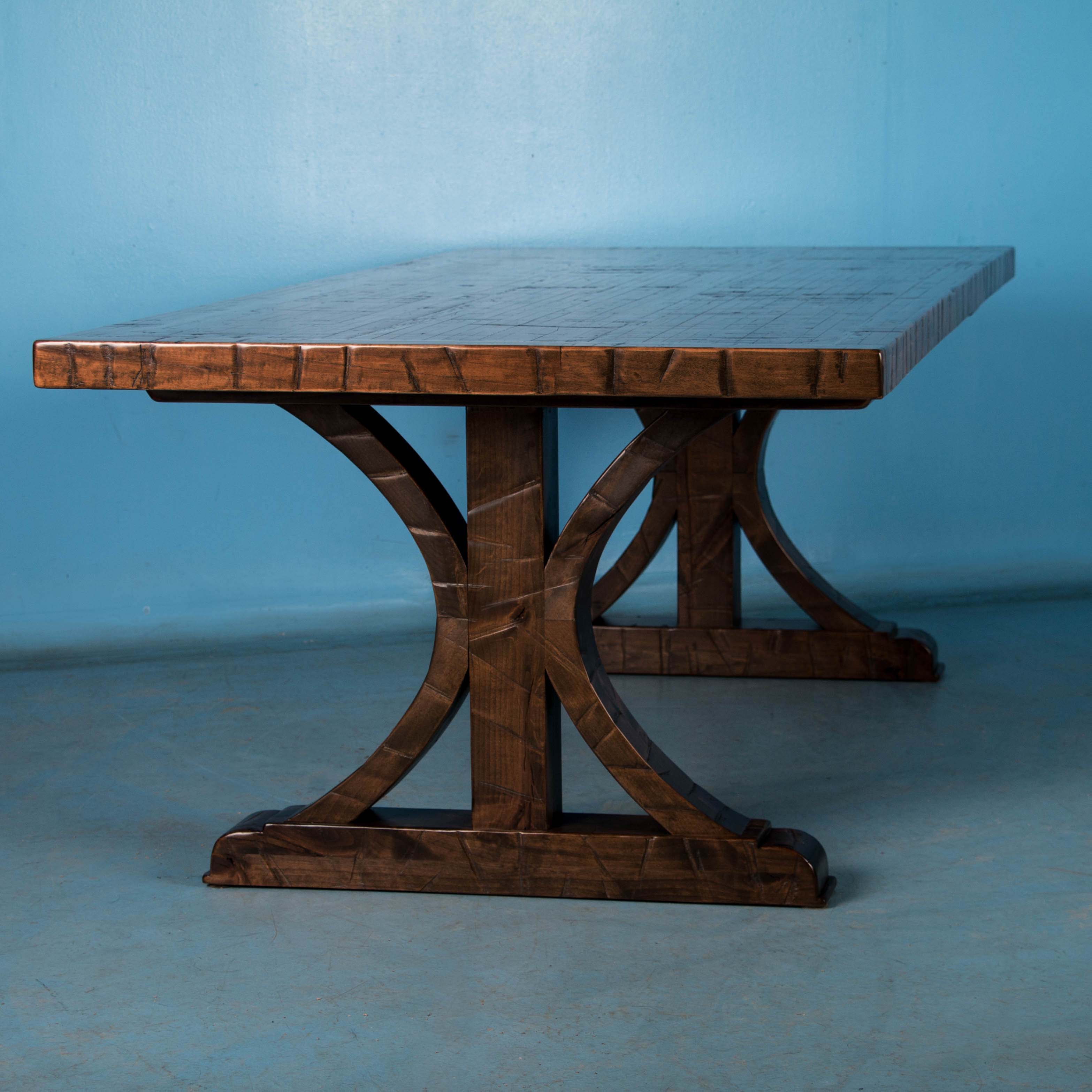 Maple Dining Table Made From Reclaimed Box Car Flooring