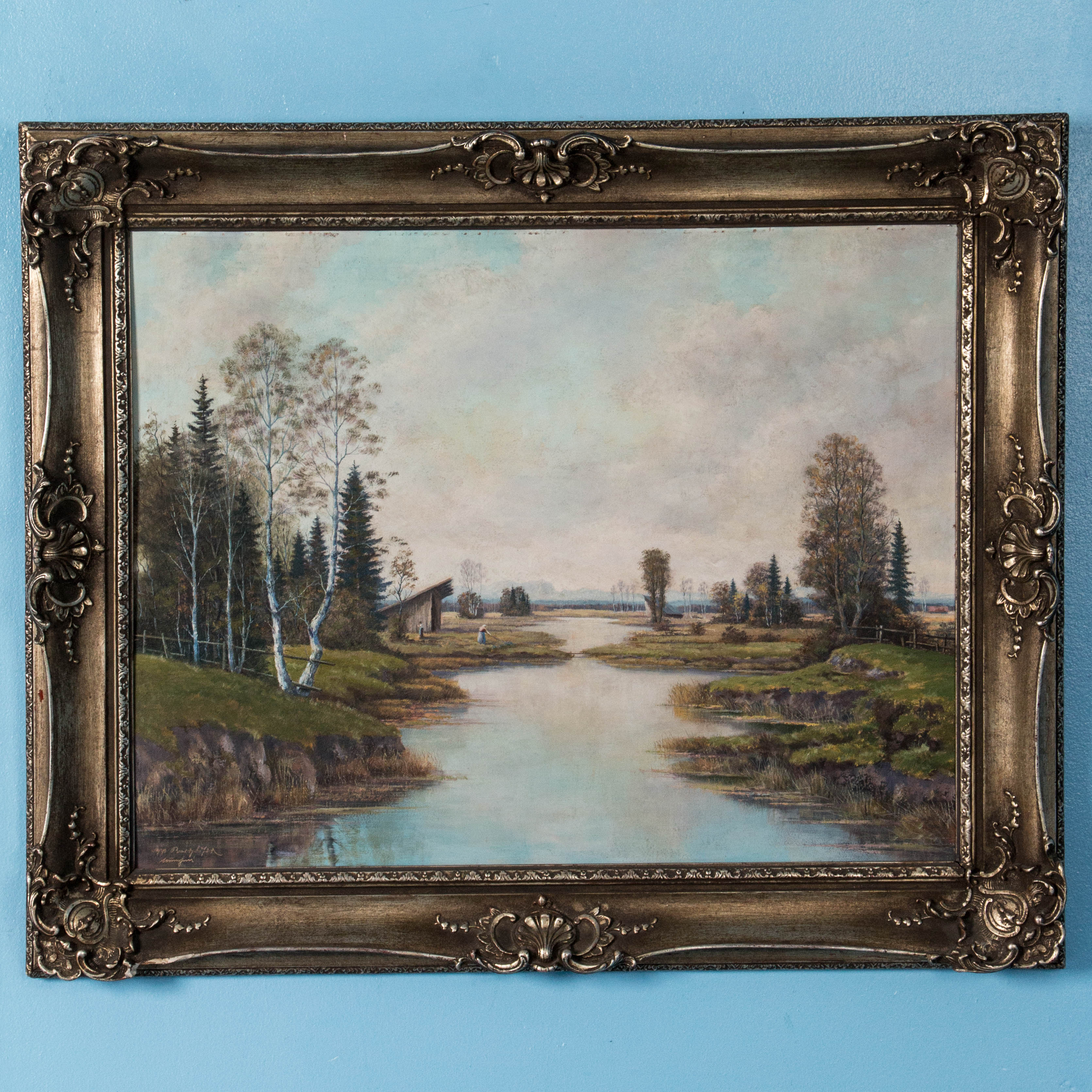 Early 20th Century Vintage Signed German Landscape Oil