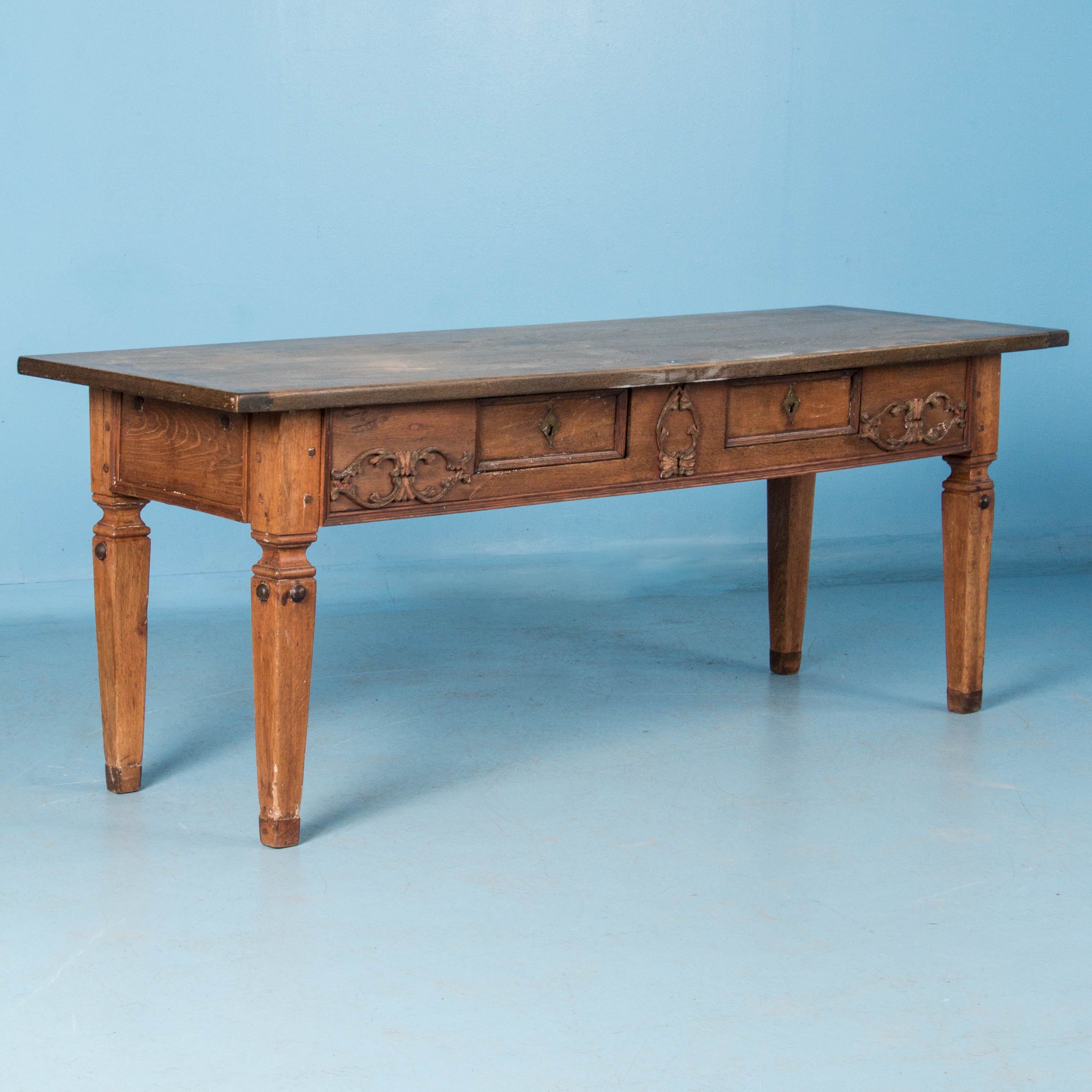 Antique 19th Century Danish Oak Library TableReturn To Tables