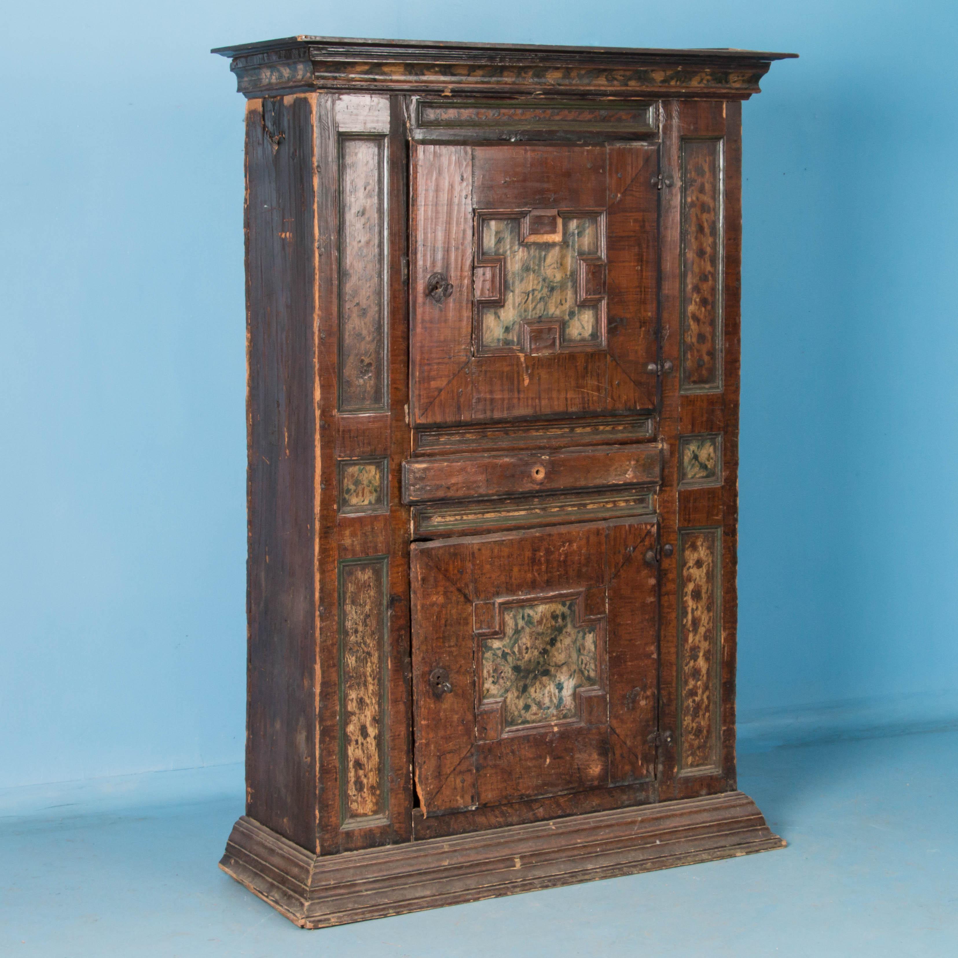 antique 19th century swedish armoire with original brown pai