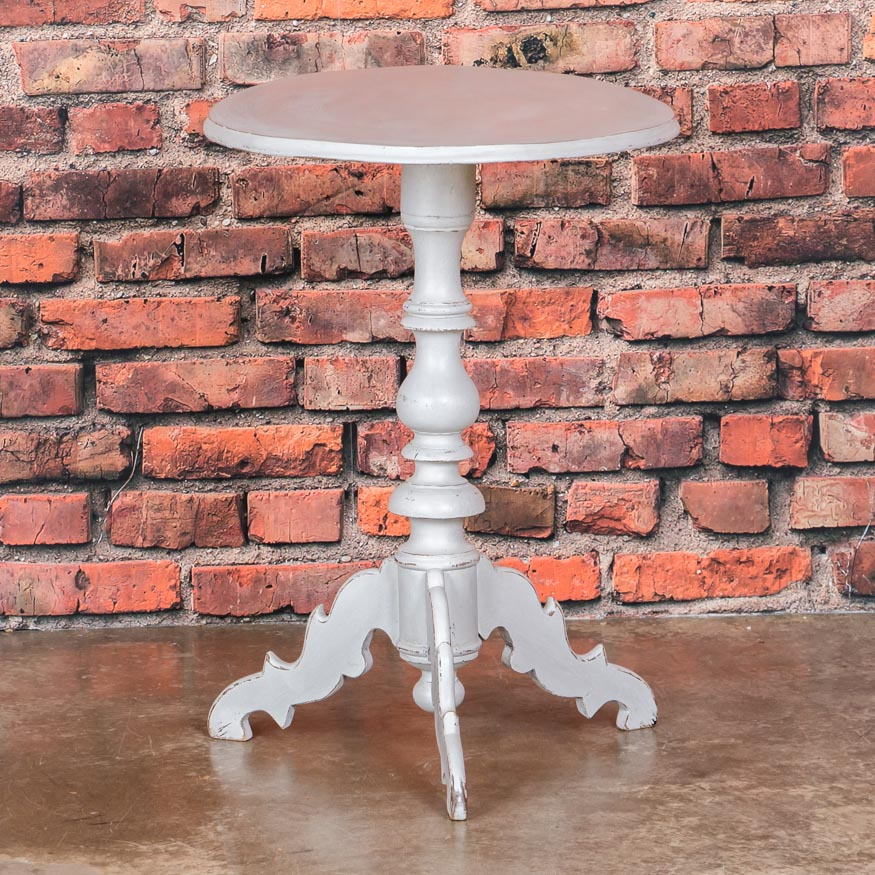 Antique Swedish White Painted Oval Tea / Side Table