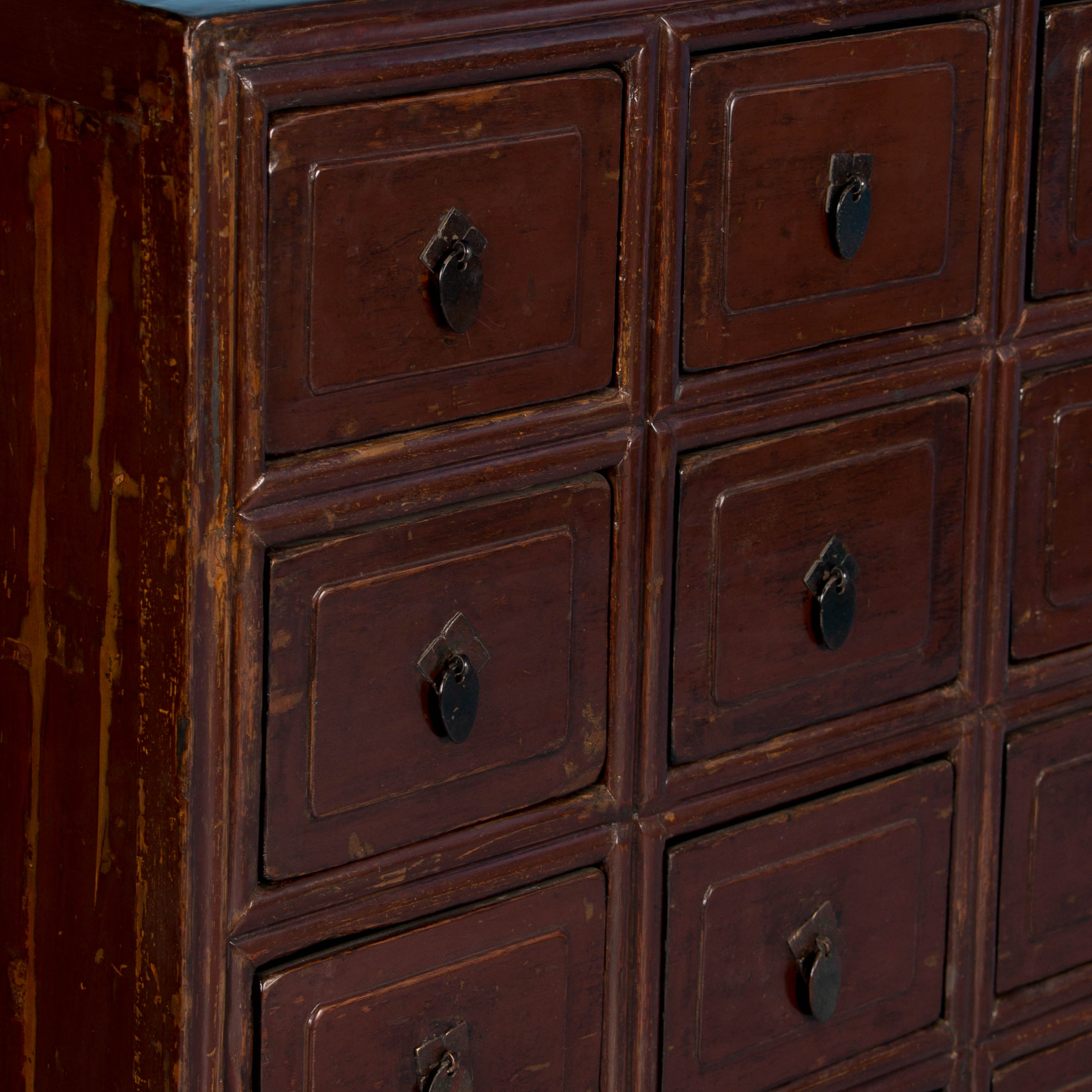 Antique Multi Drawer Red Lacquered Apothecary Cabinet Ebay