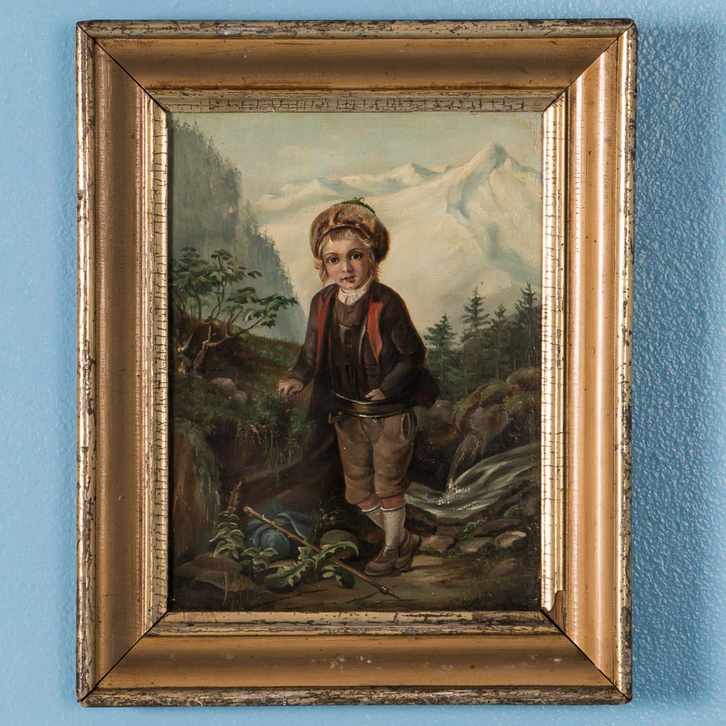 Antique Original German Alpine Scene Oil Painting Of A